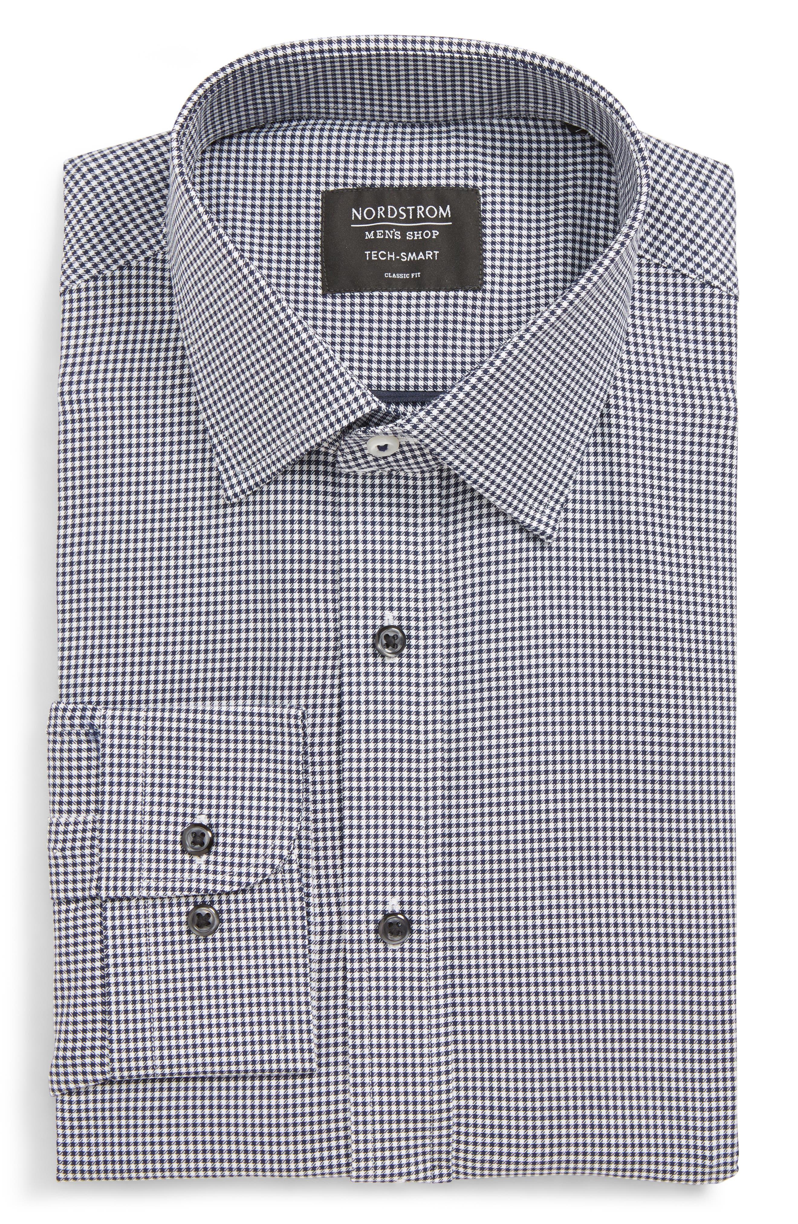 Tech-Smart Classic Fit Stretch Check Dress Shirt,                             Main thumbnail 1, color,                             NAVY PEACOAT