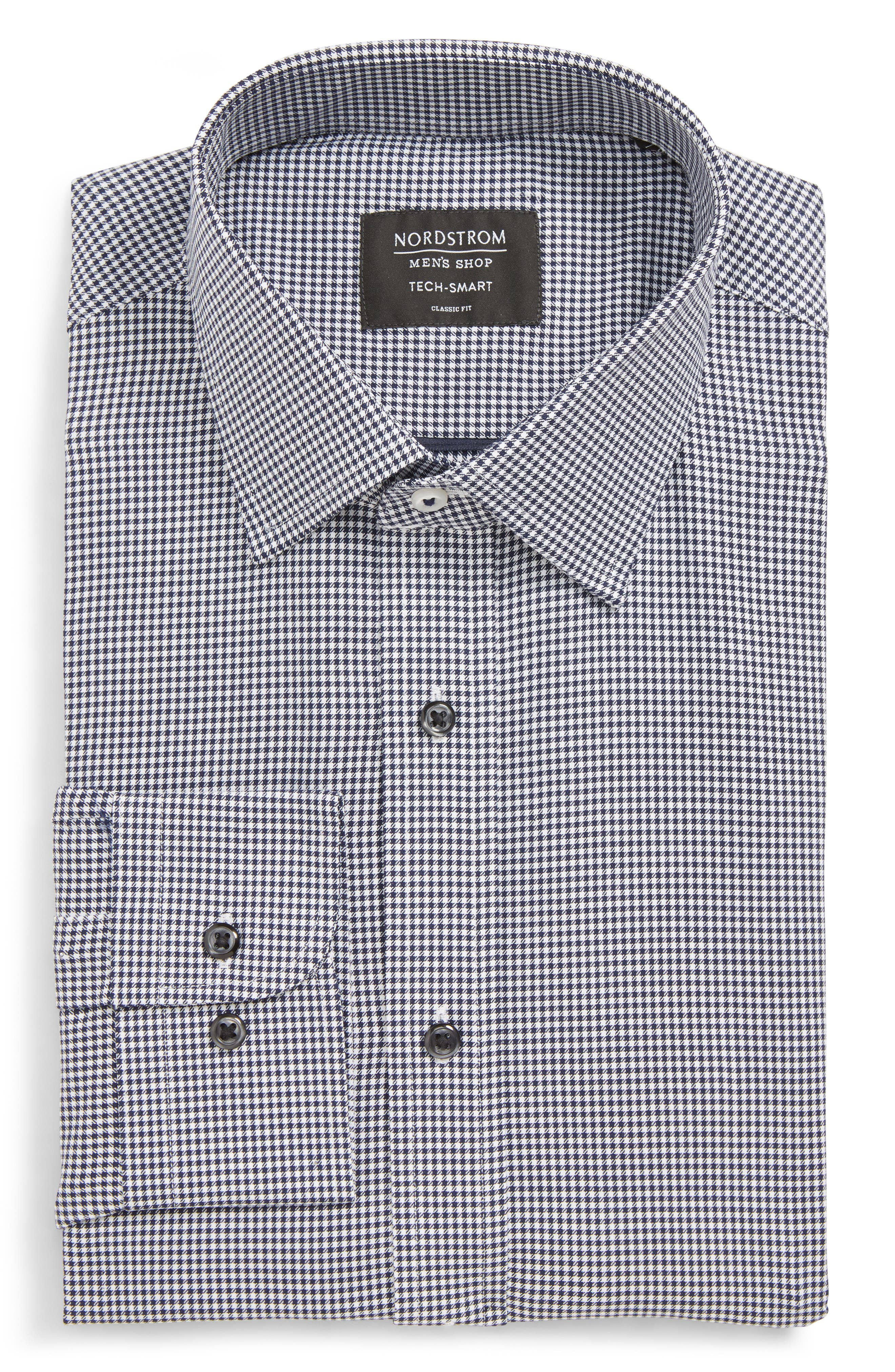 Tech-Smart Classic Fit Stretch Check Dress Shirt,                         Main,                         color, NAVY PEACOAT