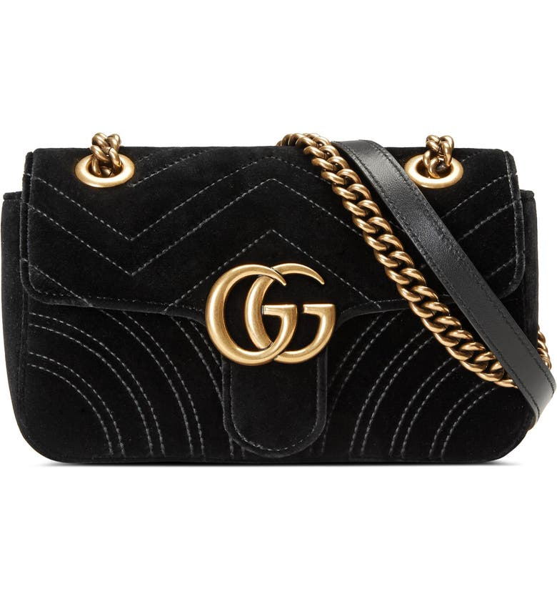 c90da1961106 Gucci Small Gg Marmont 2.0 MatelassÉ Velvet Shoulder Bag In Nero | ModeSens