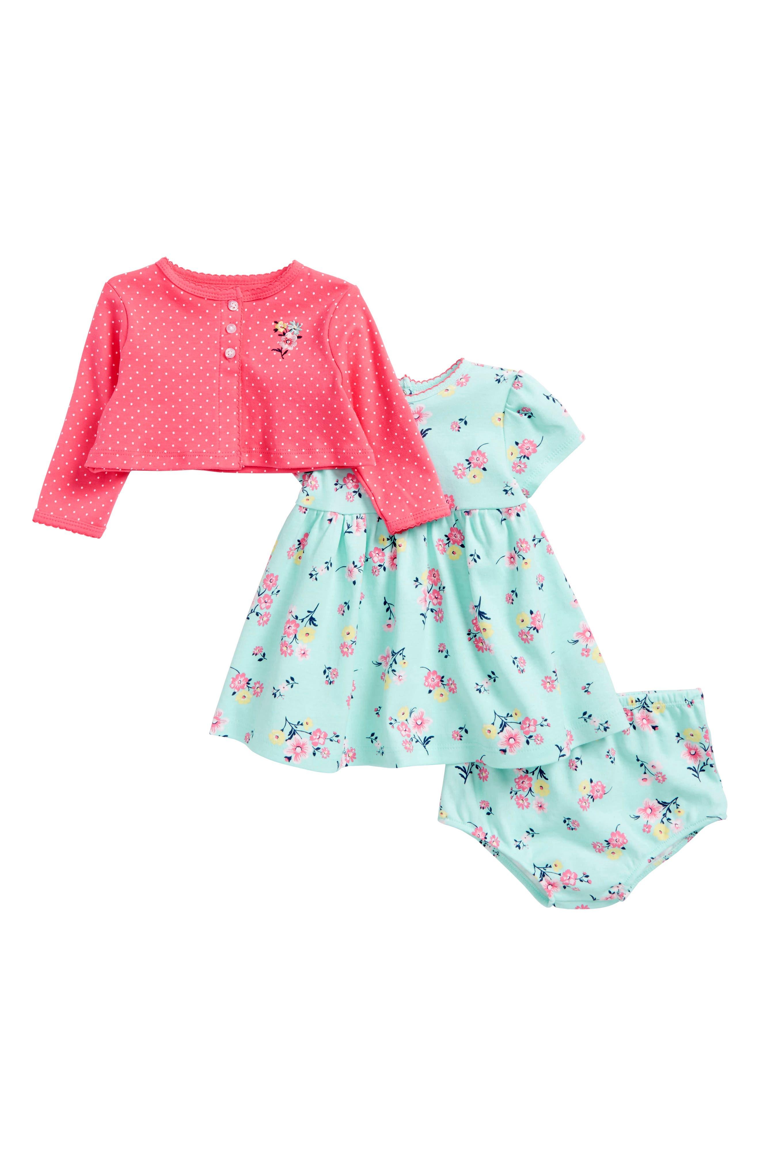 Floral Dress & Cardigan Set,                             Main thumbnail 1, color,                             341