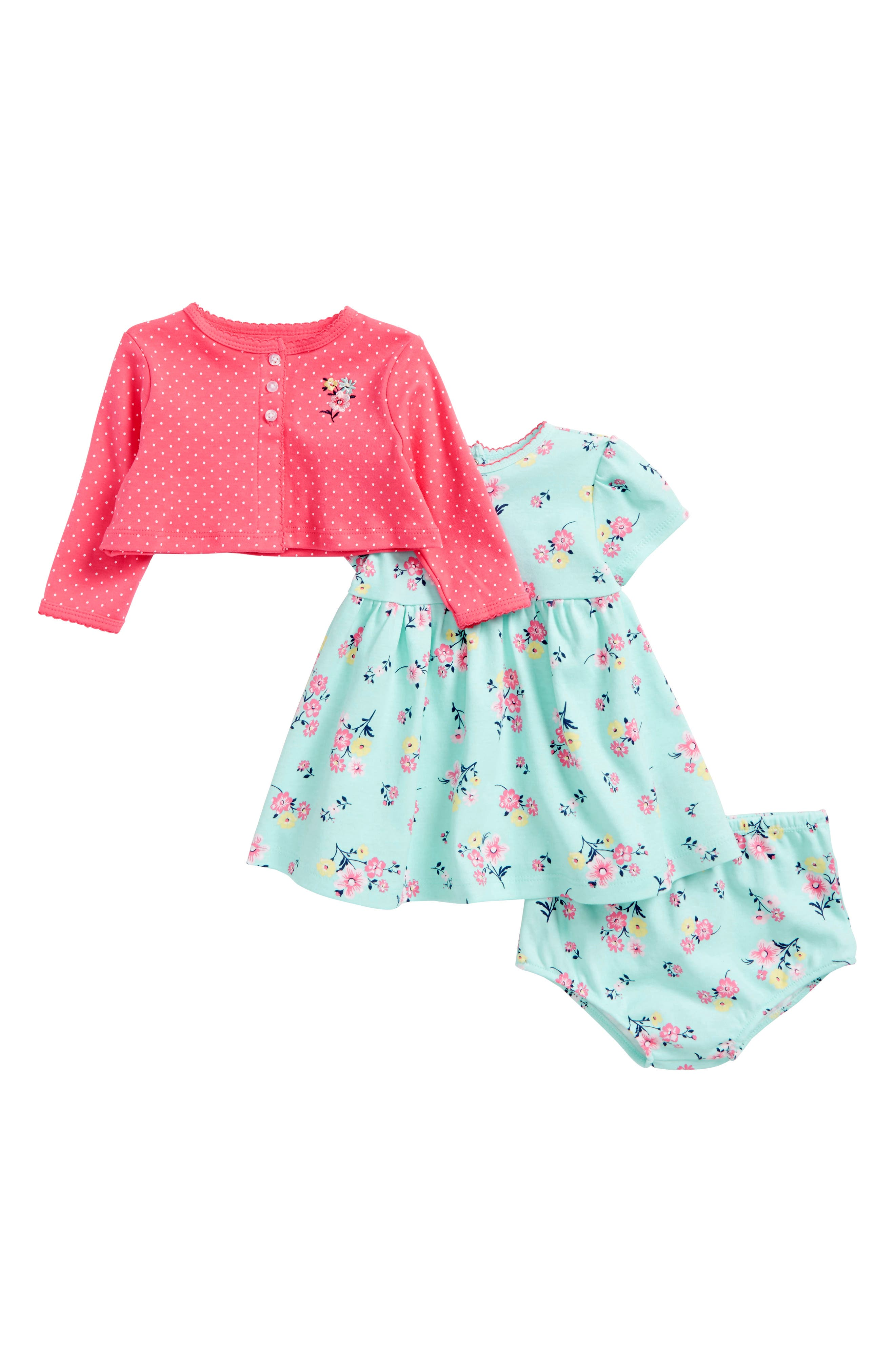 Floral Dress & Cardigan Set,                         Main,                         color, 341