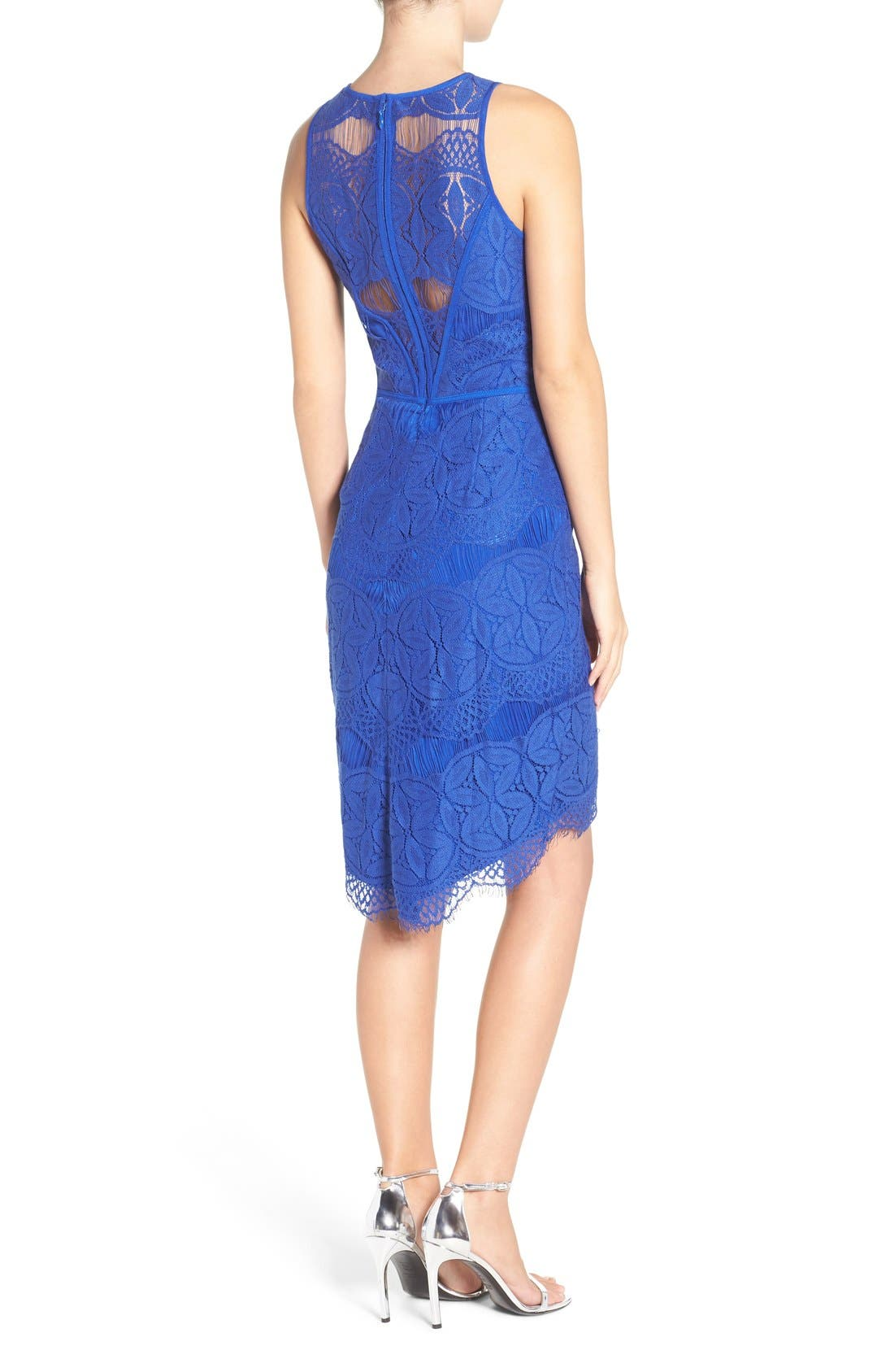 Lace High/Low Sheath Dress,                             Alternate thumbnail 22, color,