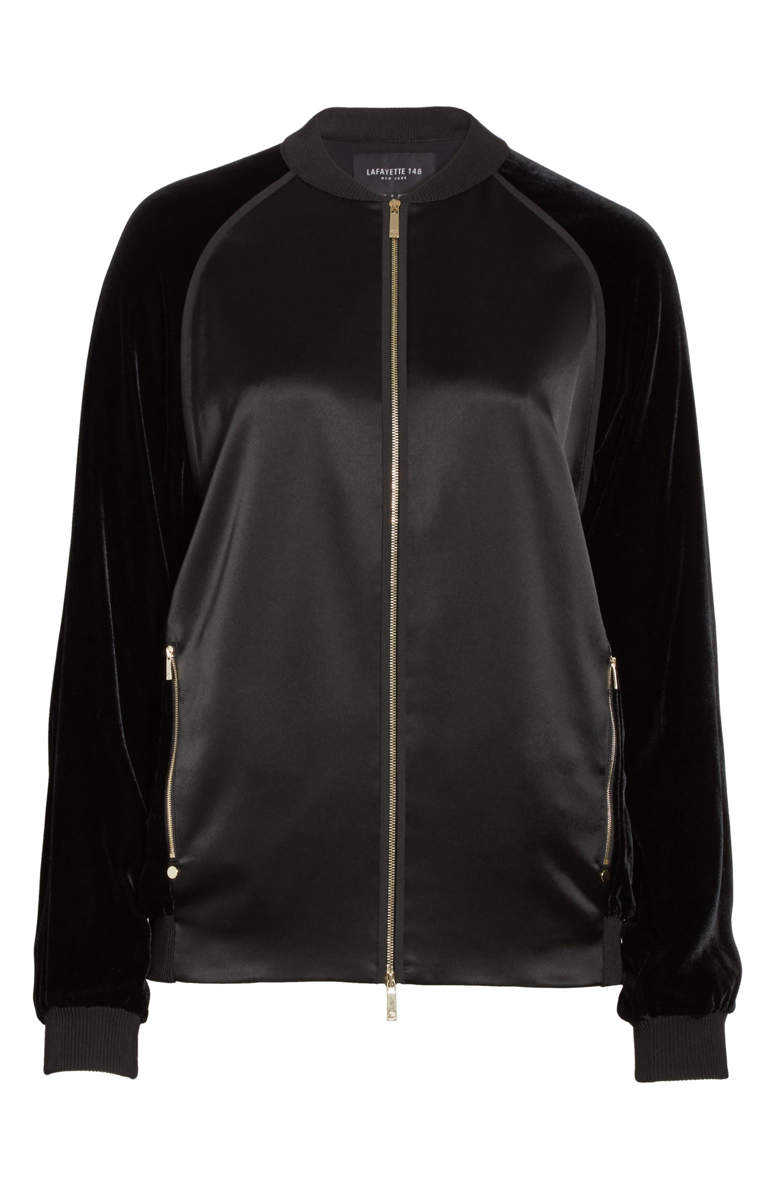 Brea Reverie Satin Cloth Bomber Jacket,                             Alternate thumbnail 5, color,                             001