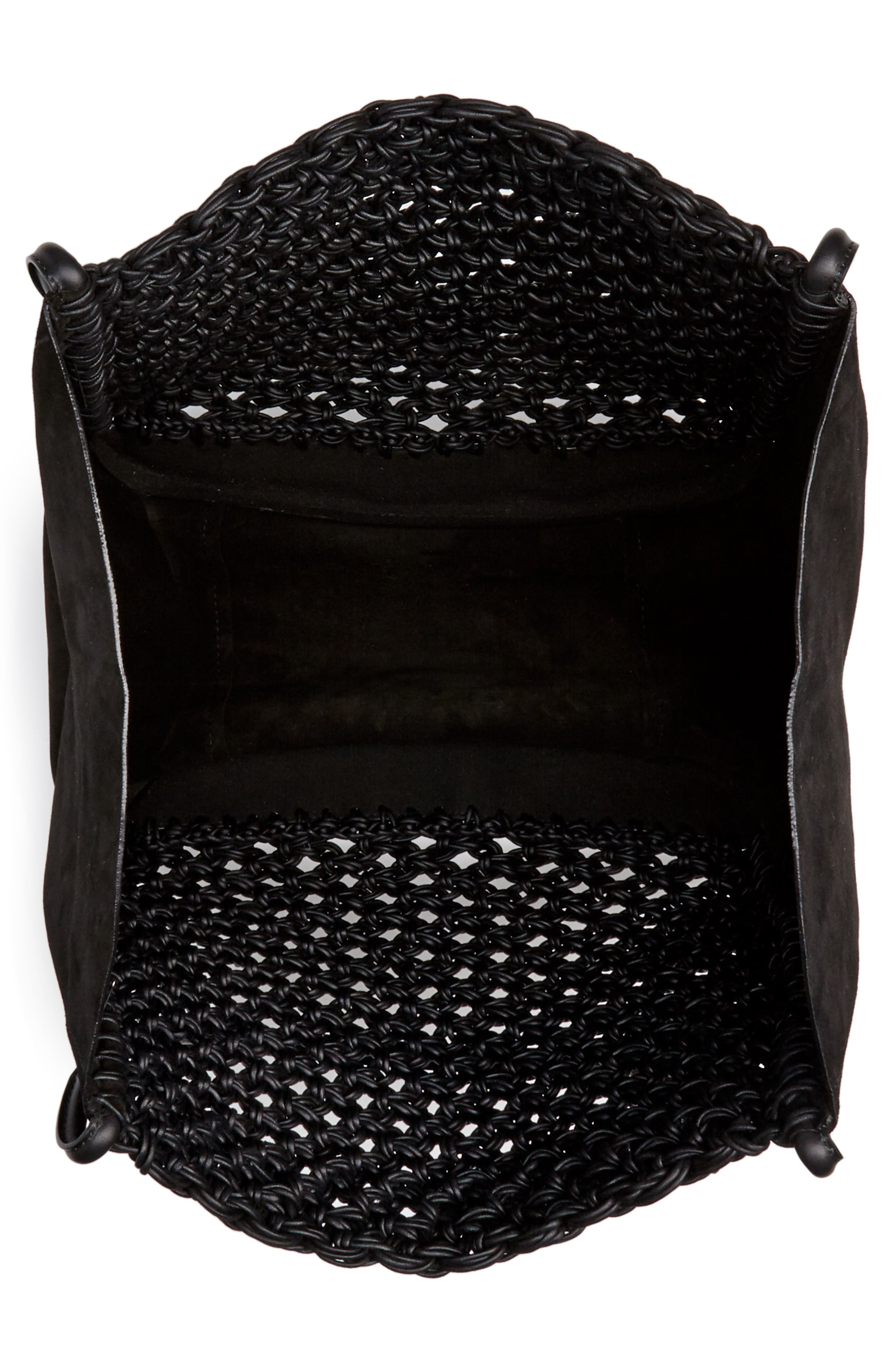 Large Macramé Tote,                             Alternate thumbnail 4, color,                             BLACK/ BLACK