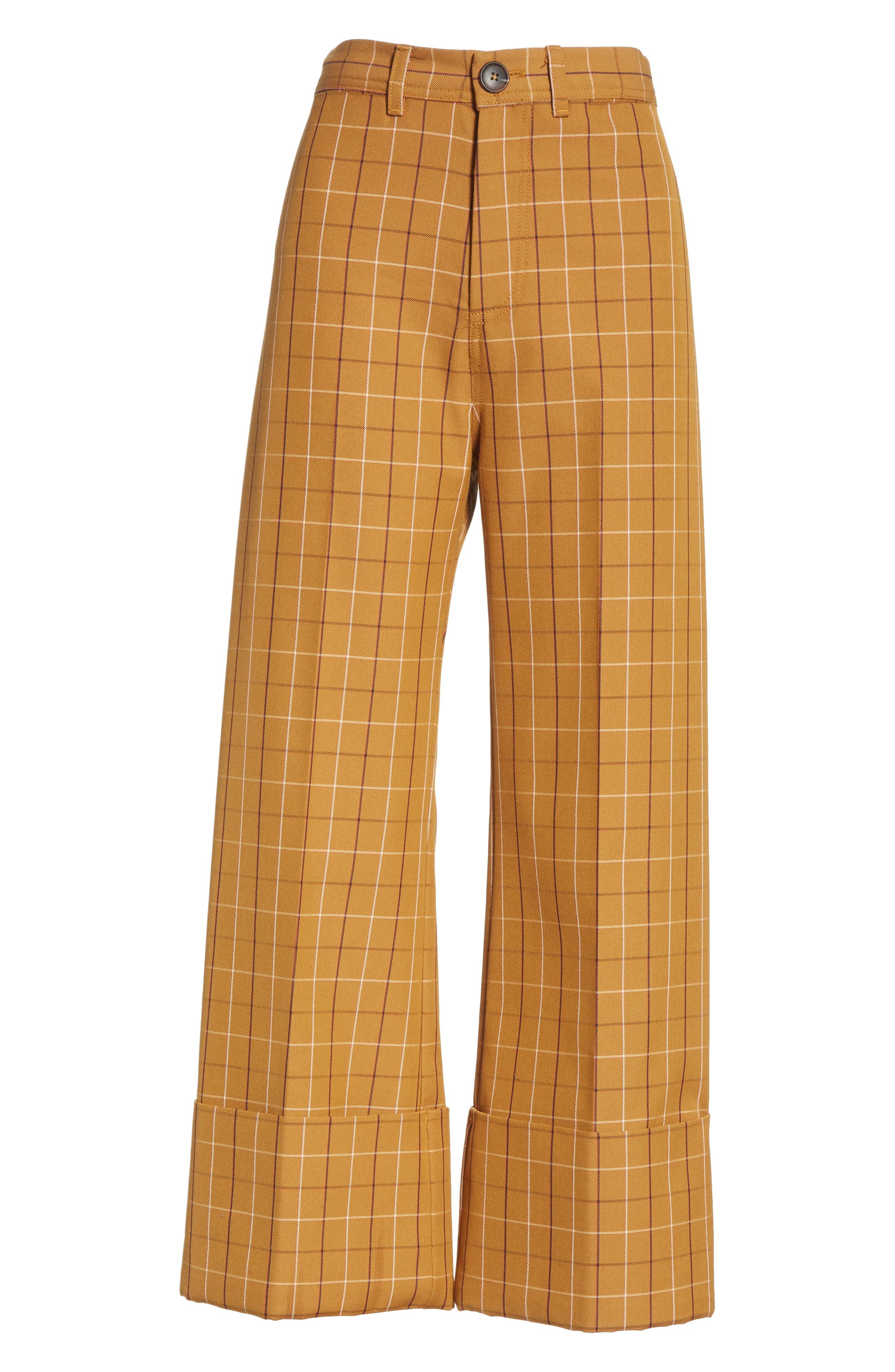 SEA,                             Poirot Plaid Cuff Pants,                             Alternate thumbnail 7, color,                             CARAMEL MULTI