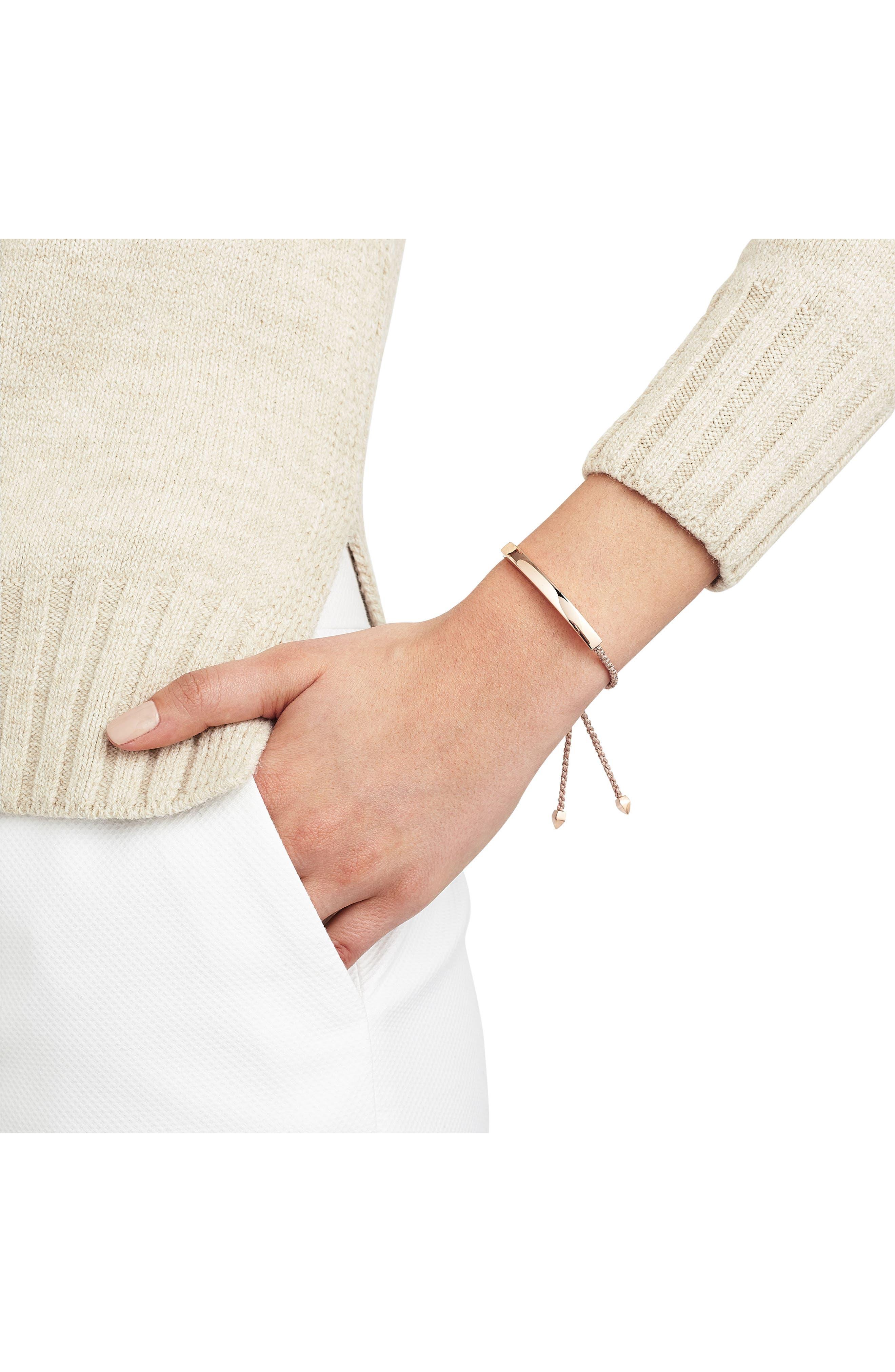 Engravable Large Linear Friendship Bracelet,                             Alternate thumbnail 2, color,                             METALLIC/ ROSE GOLD