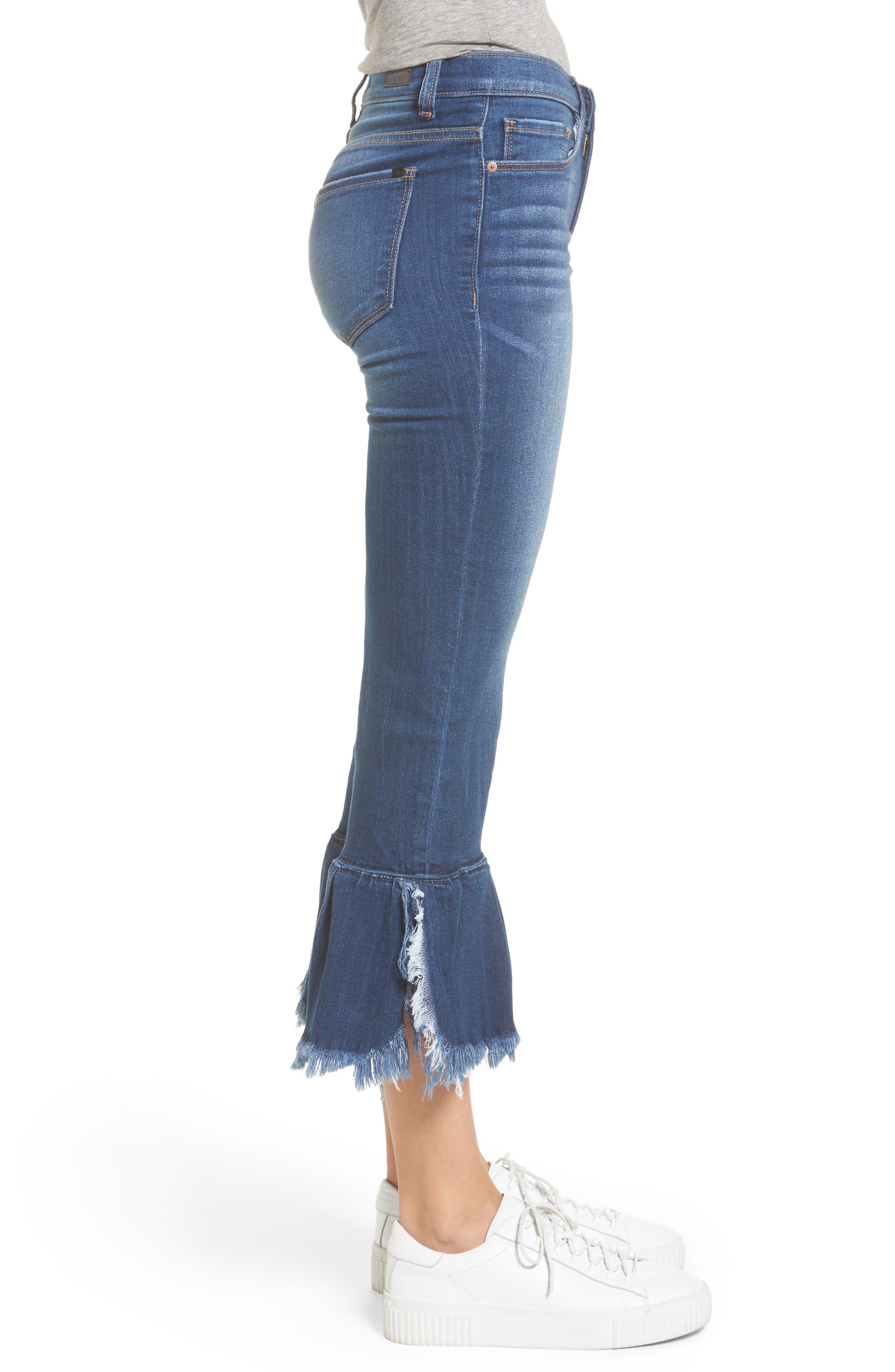Ruffle Hem Jeans,                             Alternate thumbnail 3, color,                             400