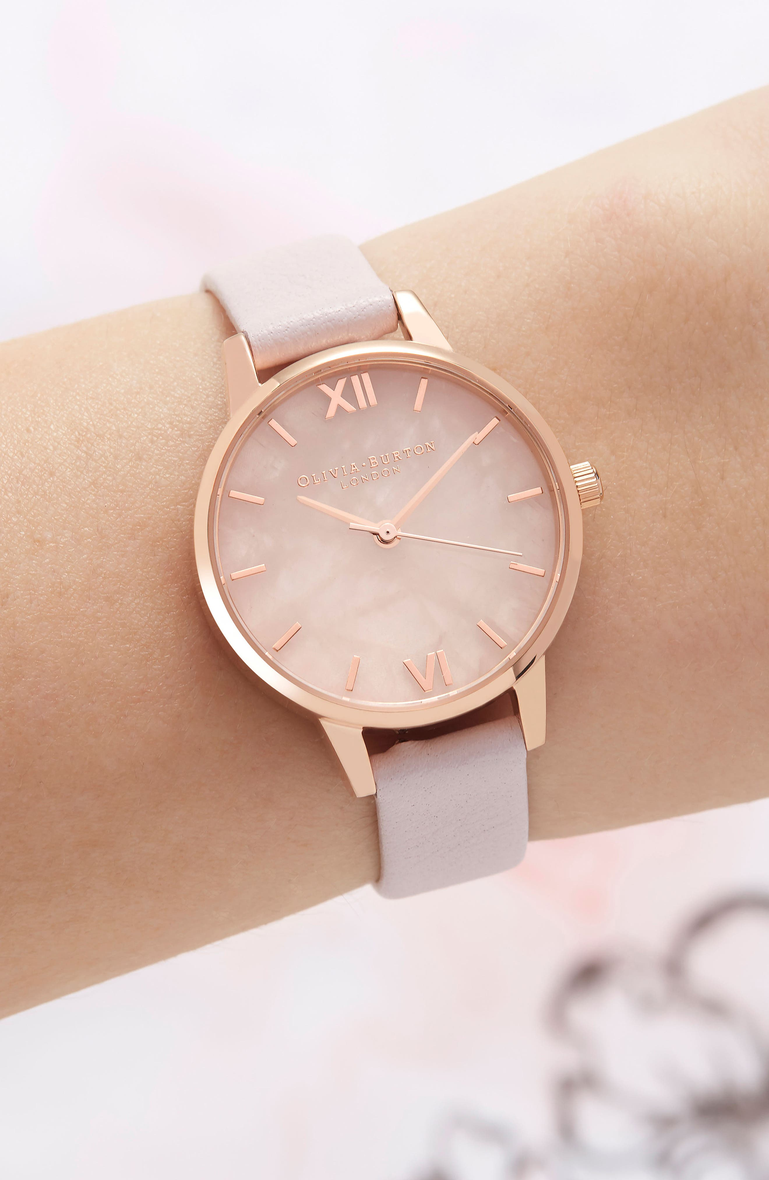 Leather Strap Watch, 30mm,                             Alternate thumbnail 2, color,                             BLOSSOM/ ROSE/ ROSE GOLD