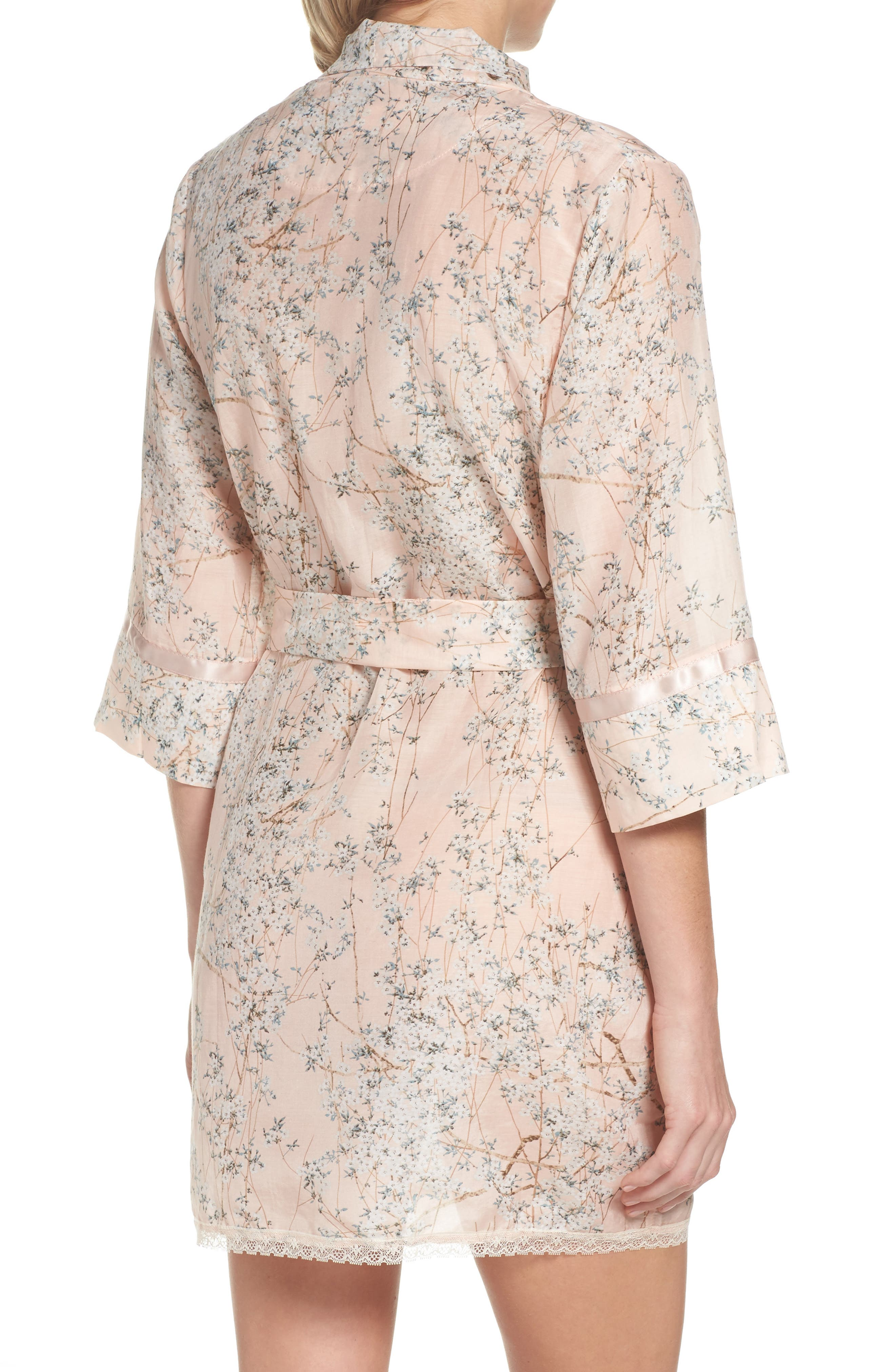 PAPINELLE,                             Cherry Blossom Cotton & Silk Short Robe,                             Alternate thumbnail 2, color,                             950