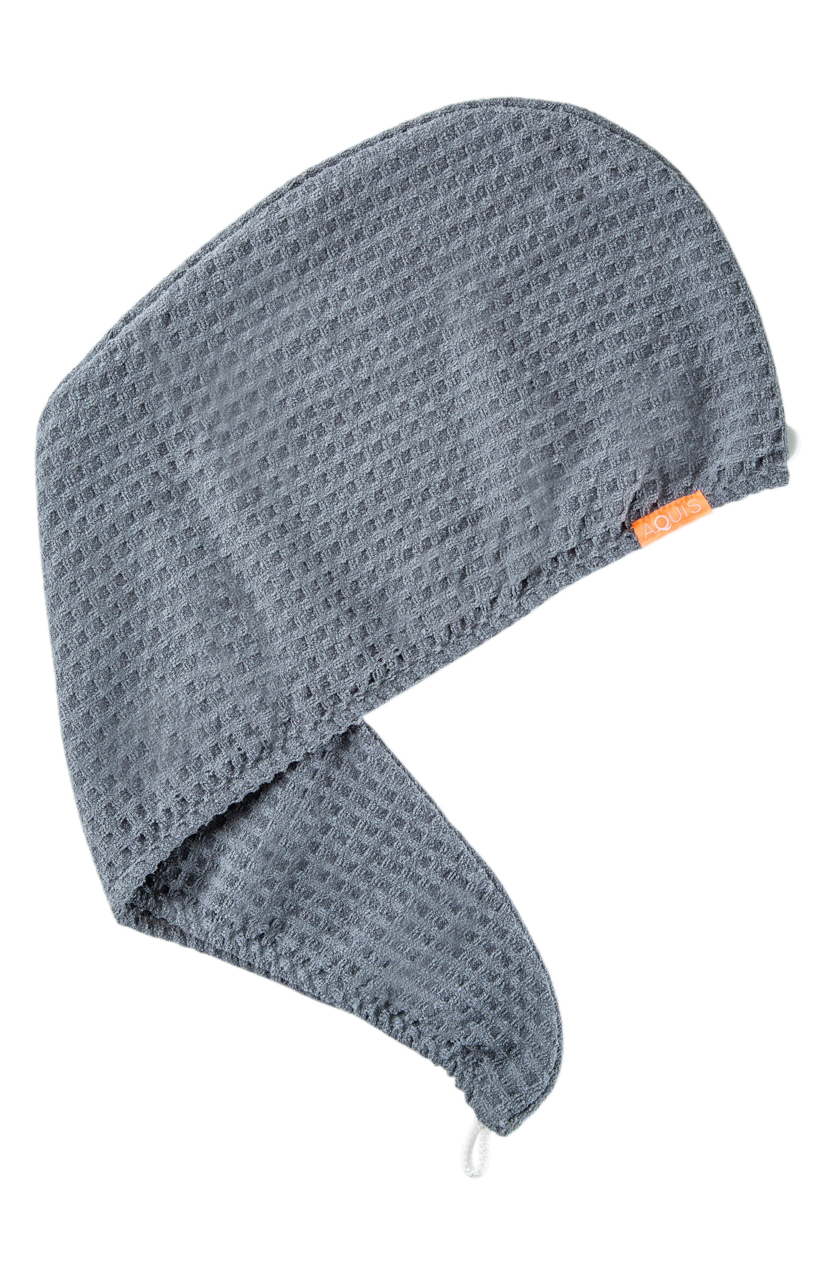 Waffle Luxe Hair Turban,                             Main thumbnail 1, color,                             MOODY GREY