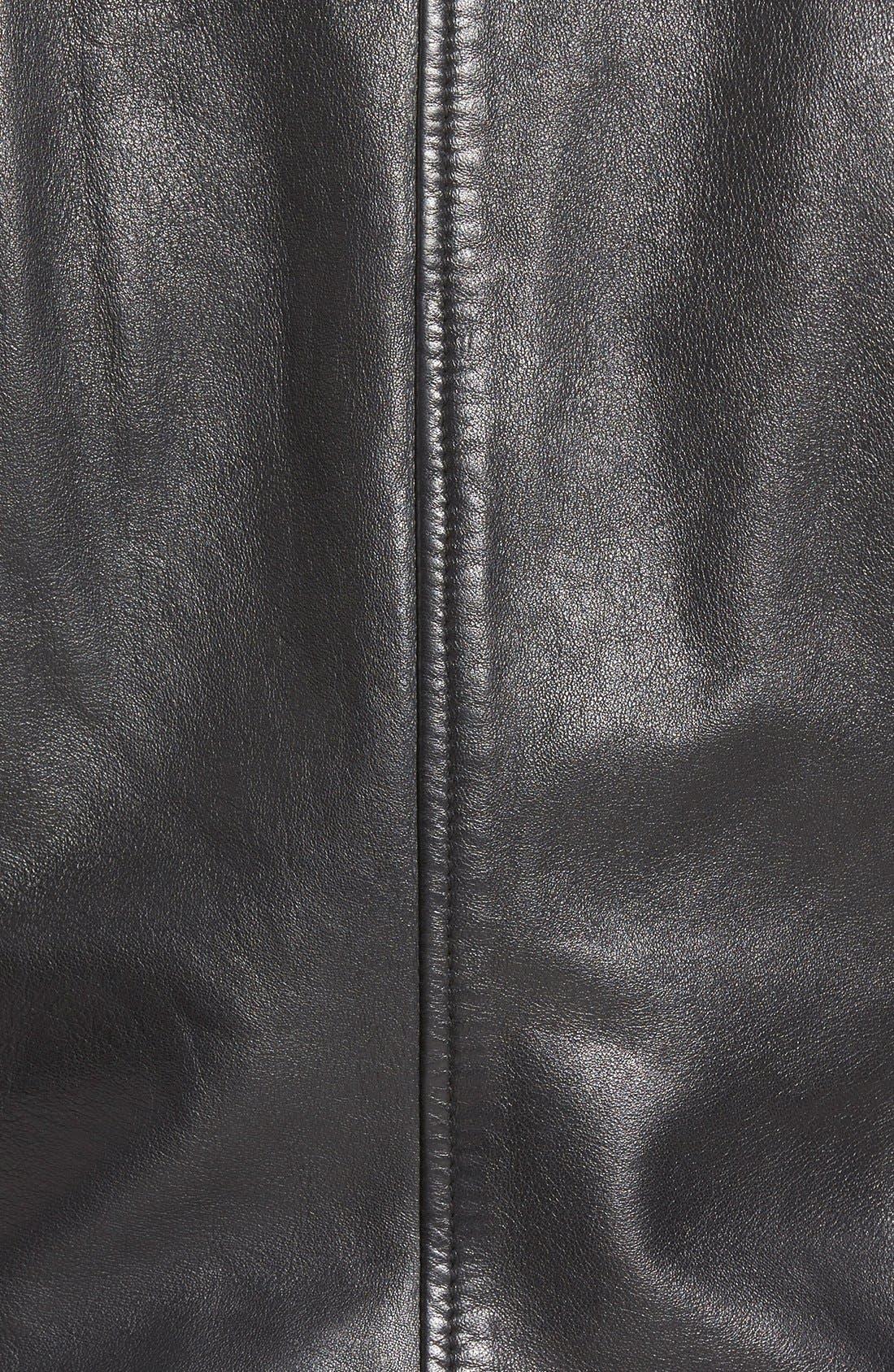 Zip Front Leather Jacket,                             Alternate thumbnail 9, color,