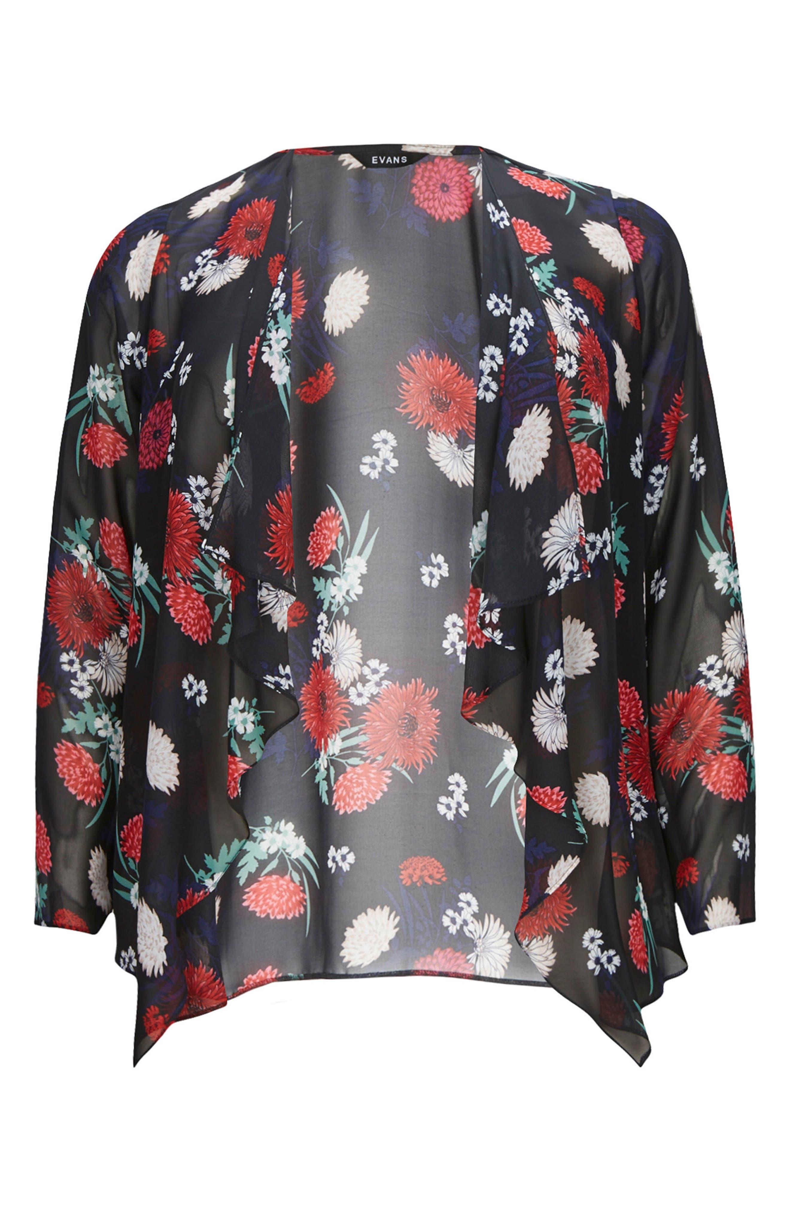 Floral Kimono Jacket,                             Alternate thumbnail 2, color,