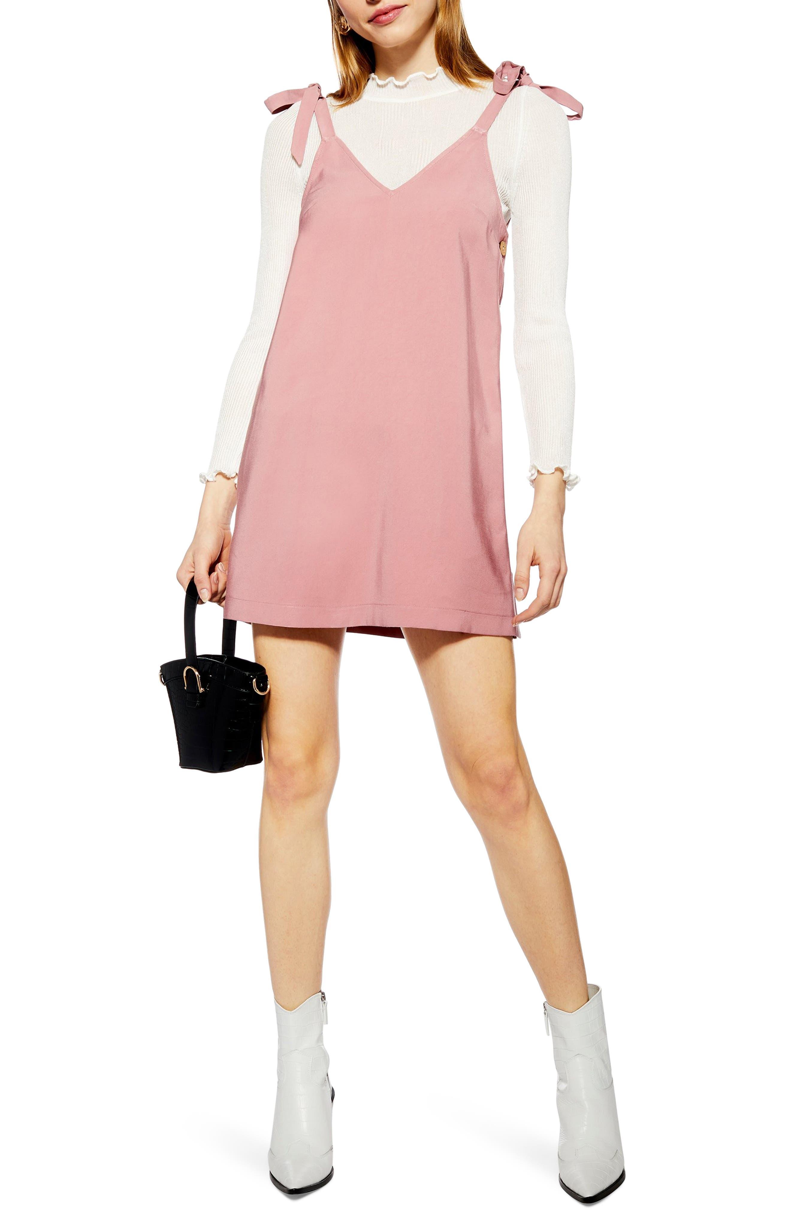 Topshop Tilda Button Mini Slipdress, US (fits like 14) - Pink