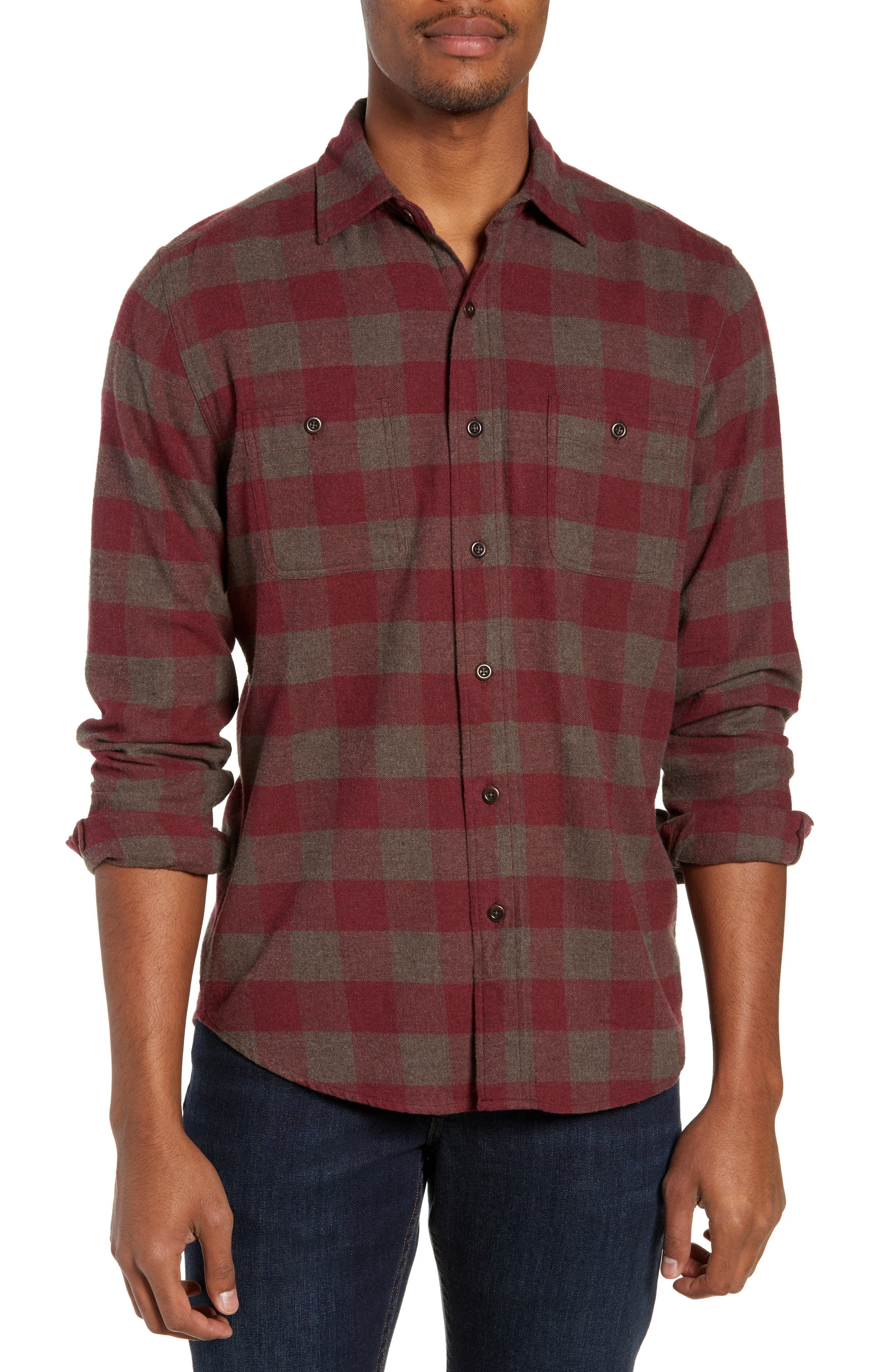 Seasons Regular Fit Check Flannel Shirt,                             Main thumbnail 1, color,                             WINE CHESTNUT BUFFALO