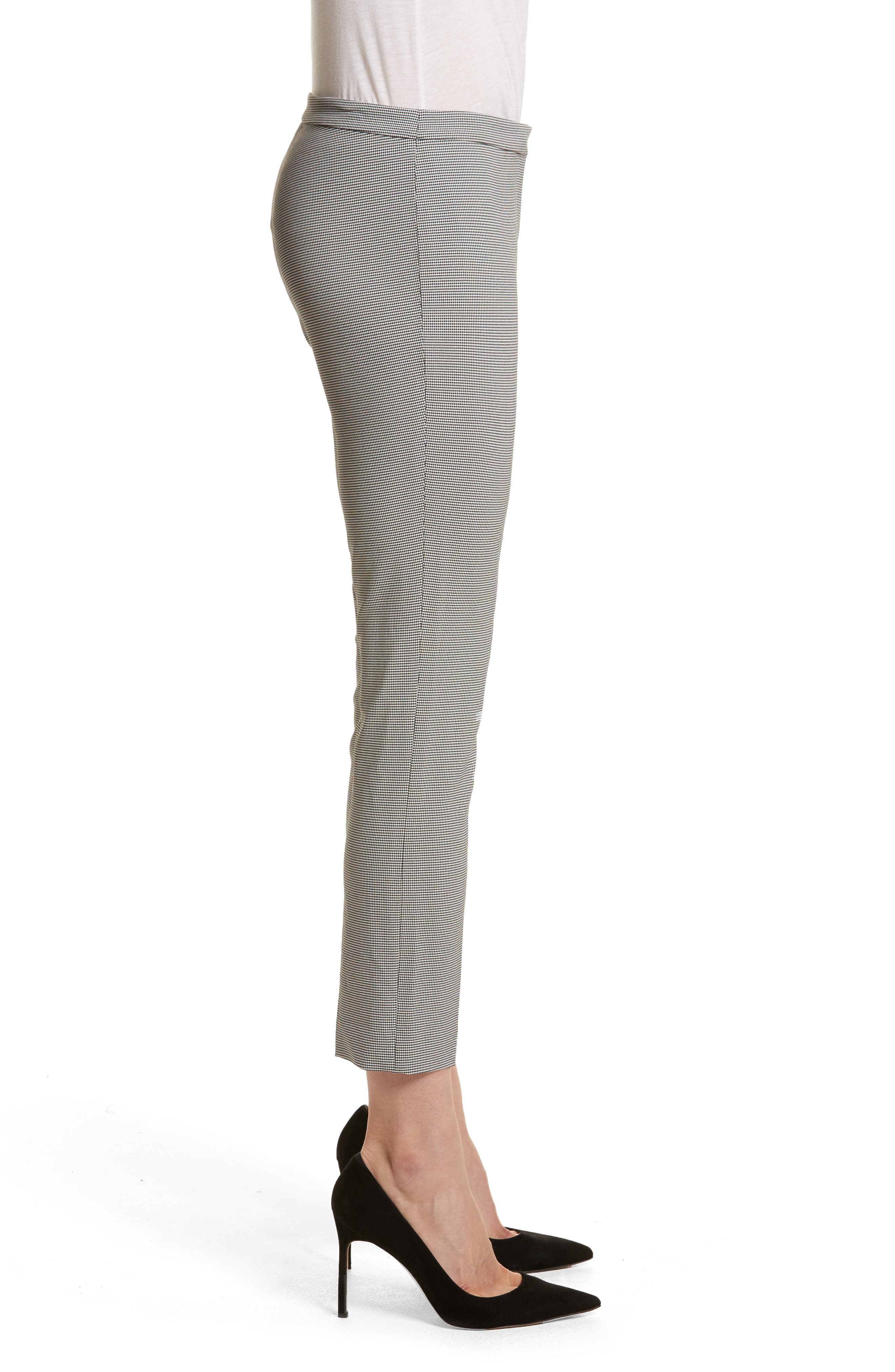Classic Houndstooth Crop Skinny Pants,                             Alternate thumbnail 3, color,                             BLACK/ IVORY