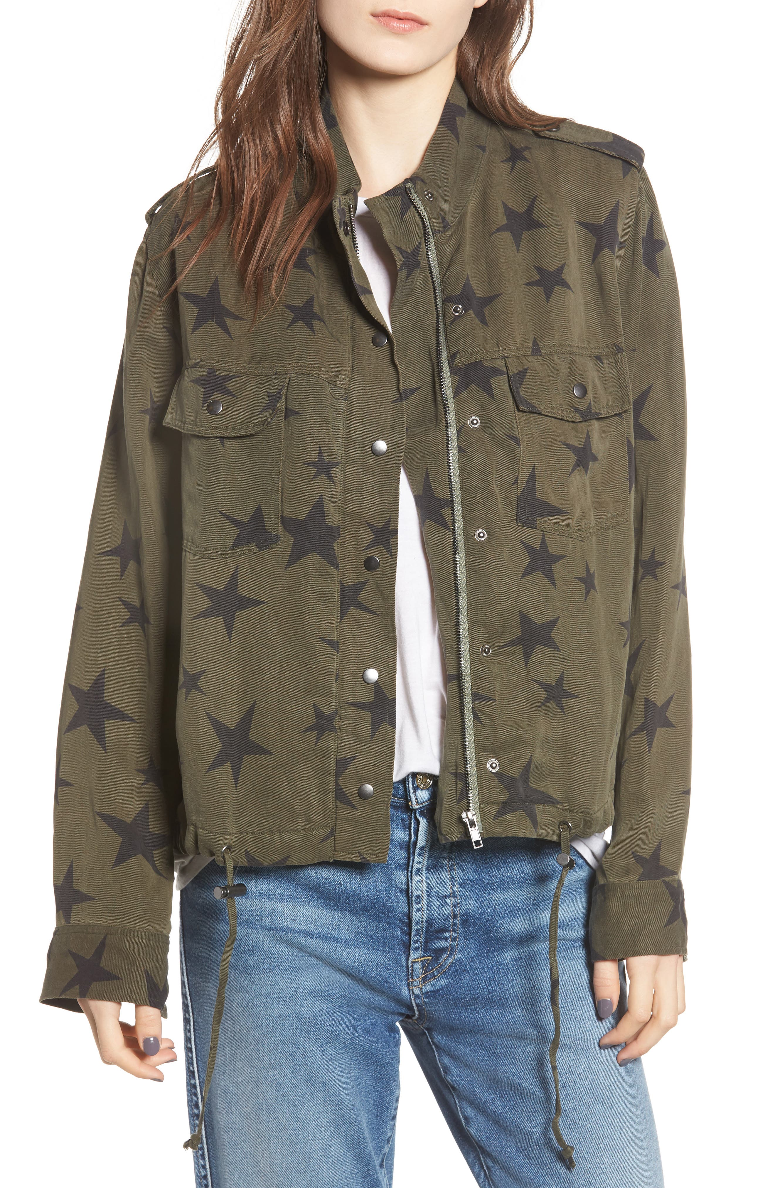 RAILS Collins Star-Print Utility Jacket in Sage With Black Stars