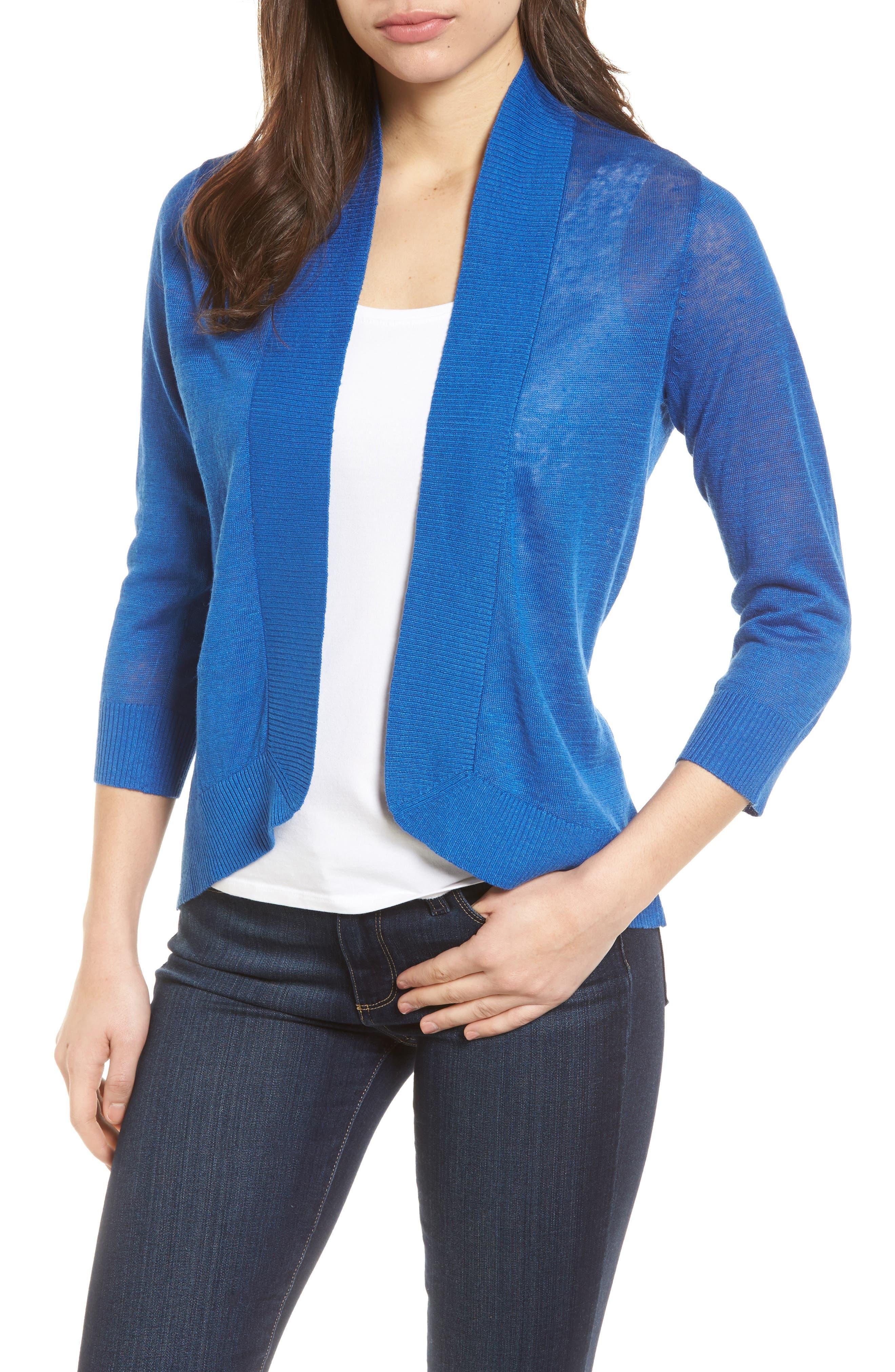 Lea Linen Cardigan,                         Main,                         color, COBALT