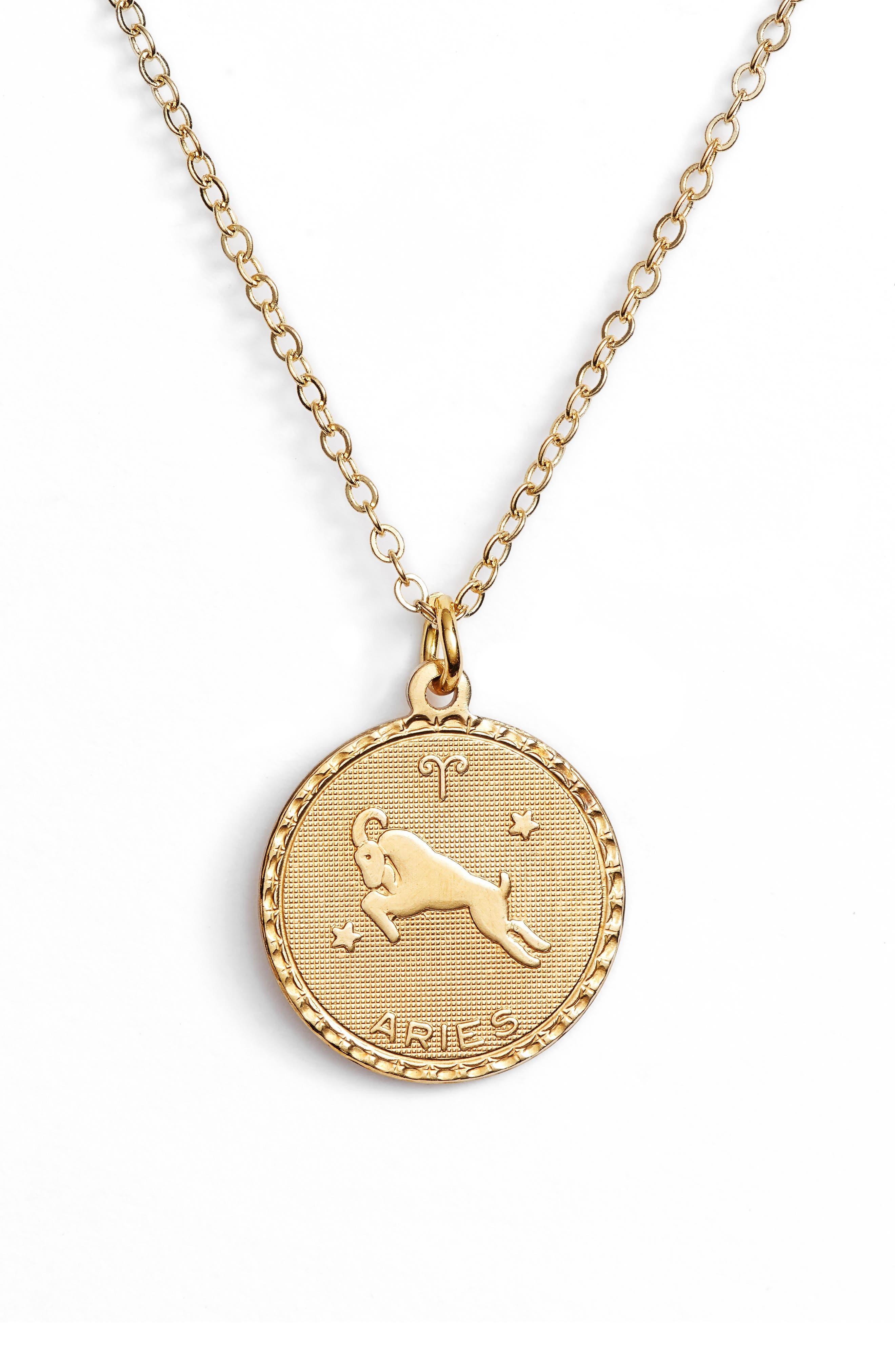 Zodiac Coin Pendant Necklace,                         Main,                         color, GOLD-ARIES