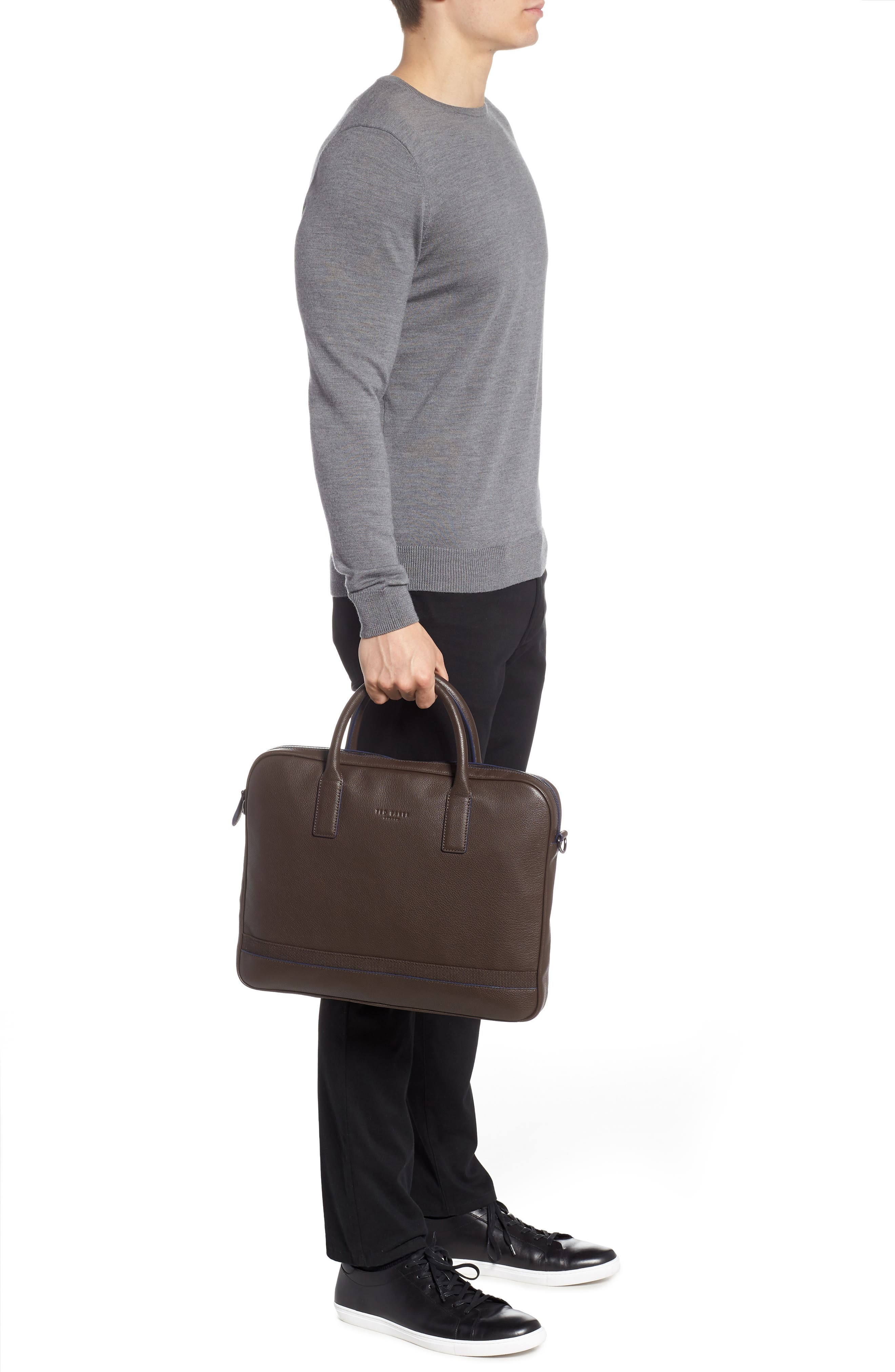 Lowmee Leather Briefcase,                             Alternate thumbnail 4, color,