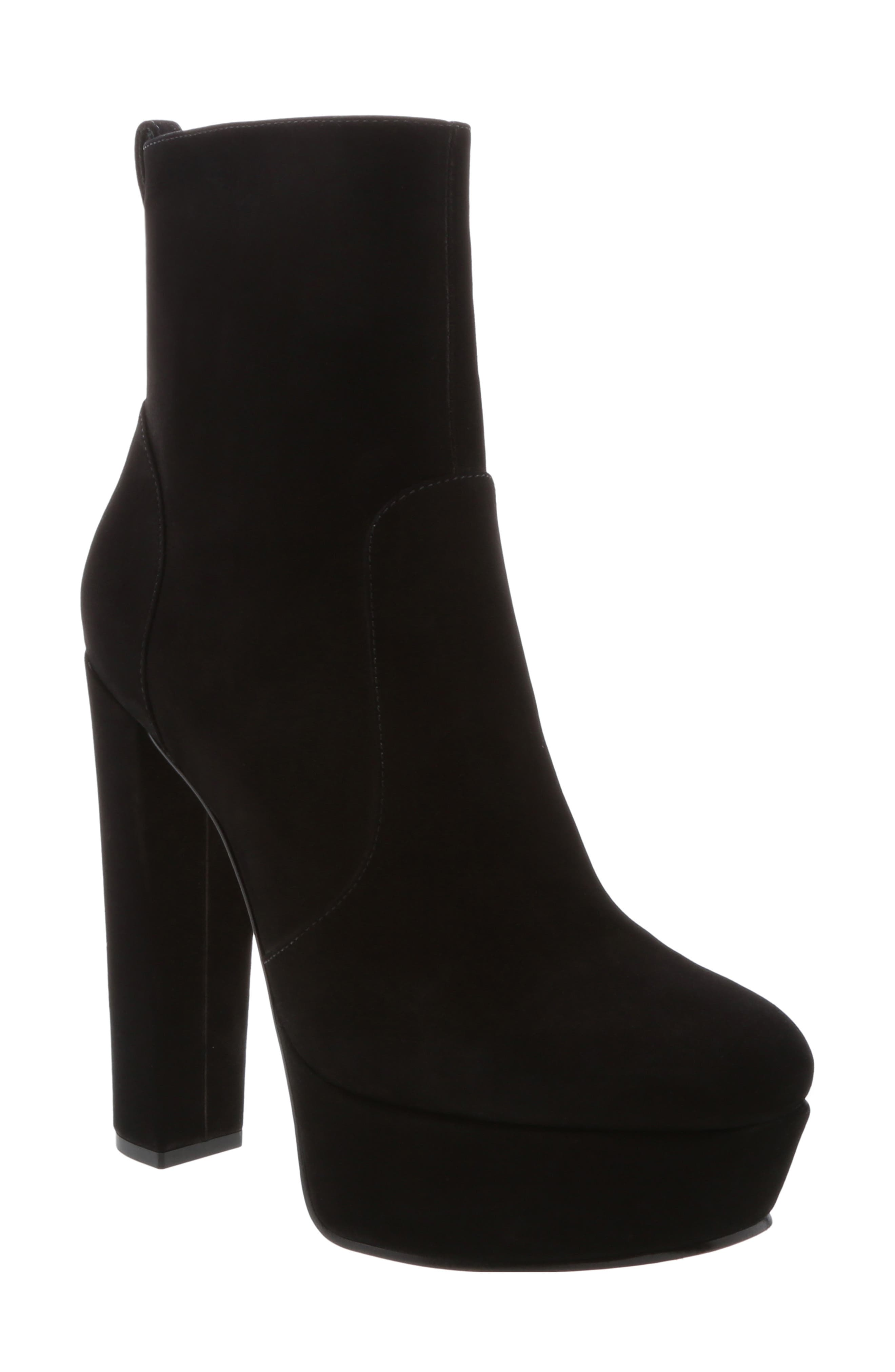 July Platform Bootie,                             Main thumbnail 1, color,                             BLACK NUBUCK LEATHER
