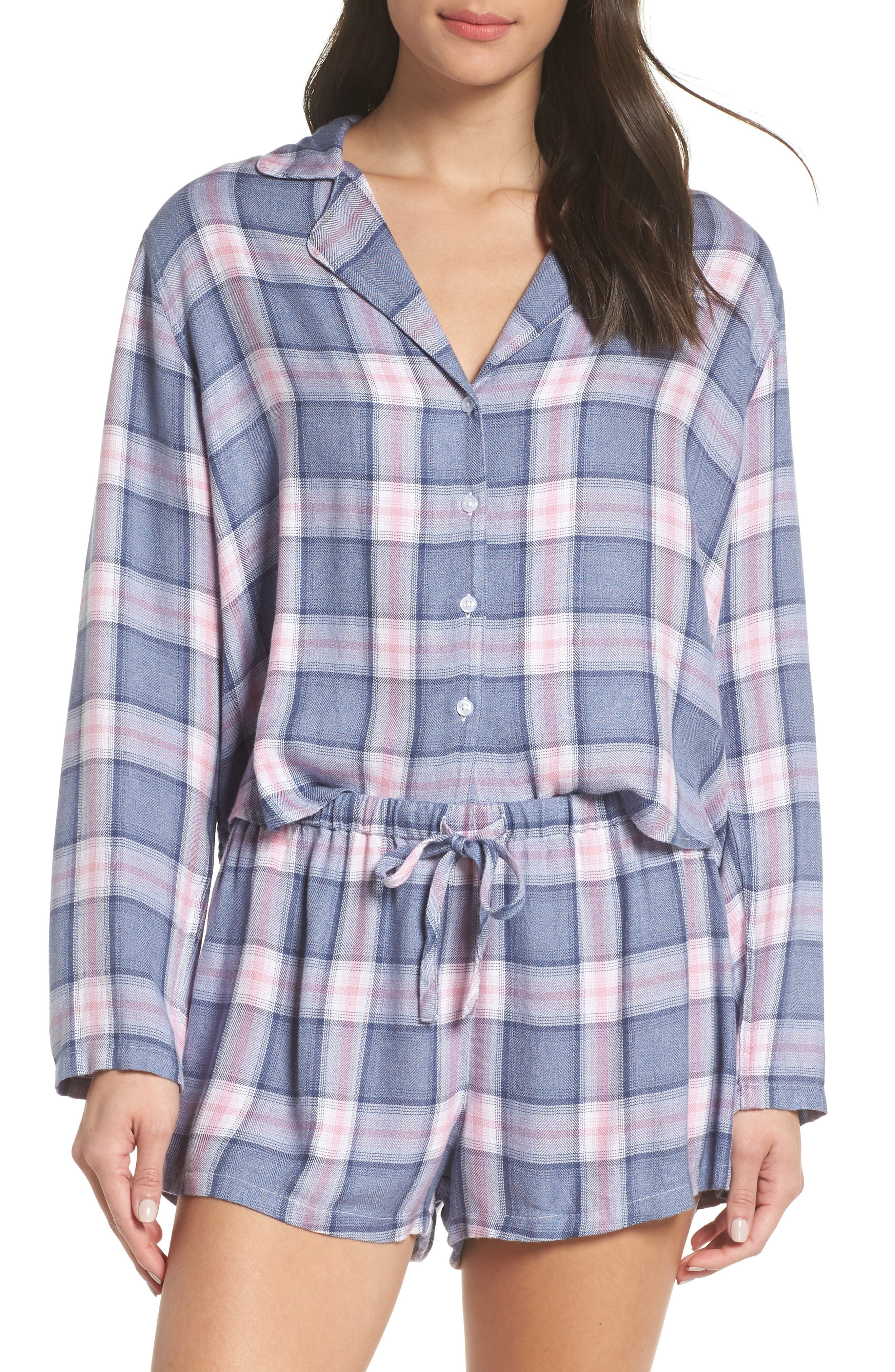 Short Pajamas,                             Main thumbnail 1, color,                             INDIGO BERRY