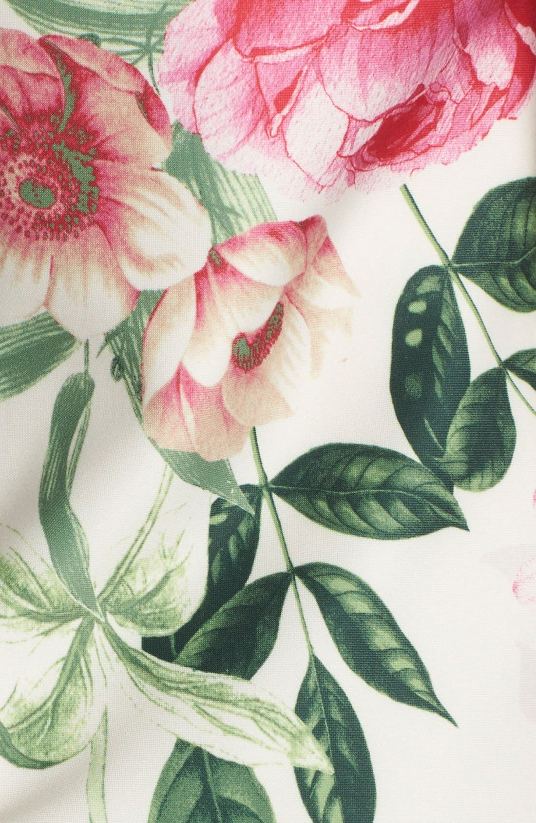 Placed Floral Print Stretch A-Line Dress,                             Alternate thumbnail 5, color,