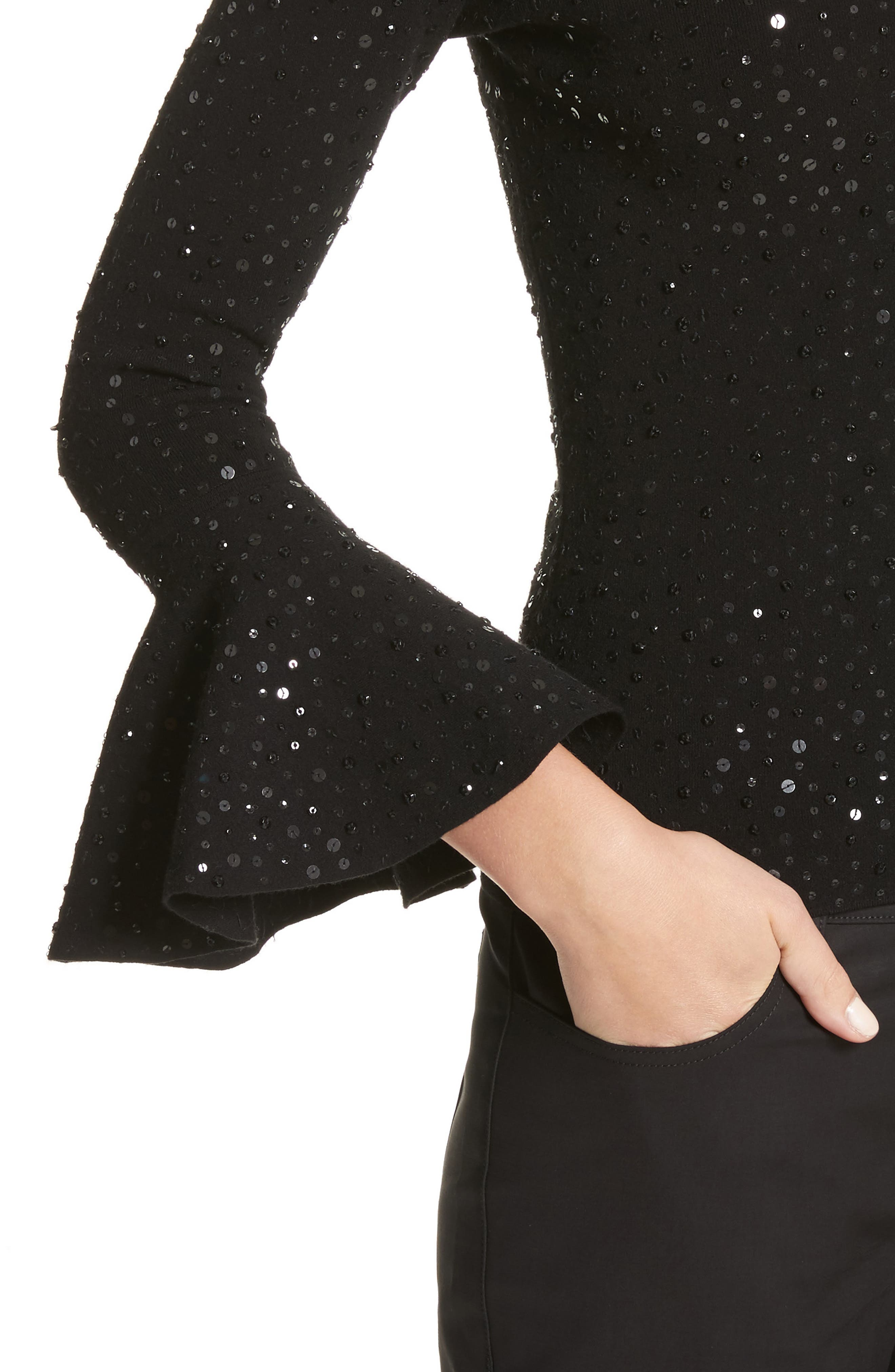 Sequin Bell Sleeve Top,                             Alternate thumbnail 4, color,                             001