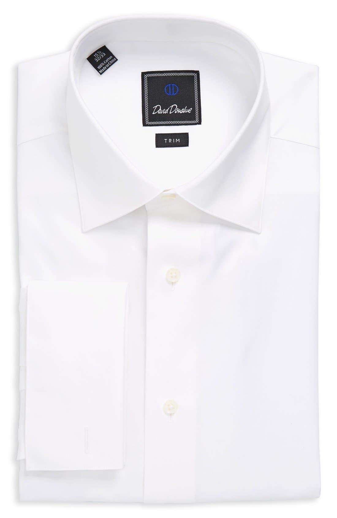 Trim Fit Tuxedo Shirt,                         Main,                         color, WHITE