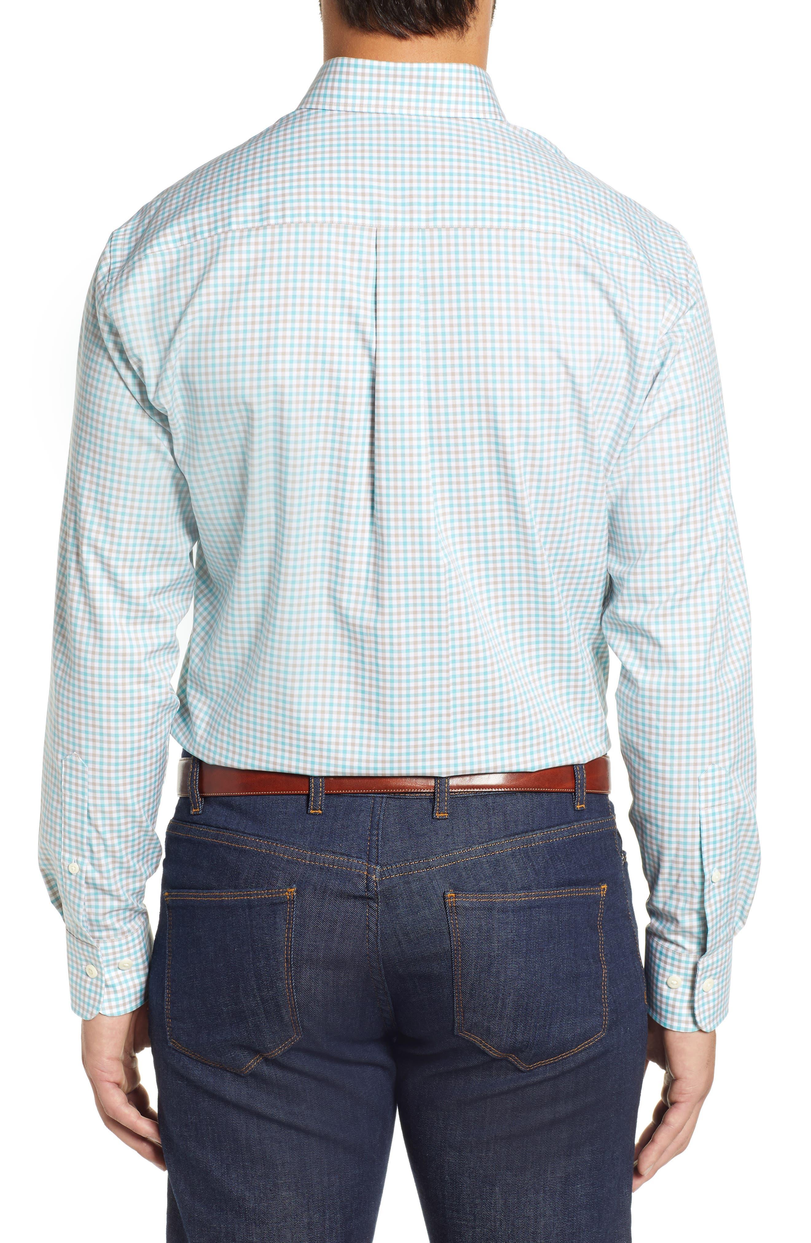 Crown Ease Marketplace Regular Fit Check Sport Shirt,                             Alternate thumbnail 3, color,                             GREEN