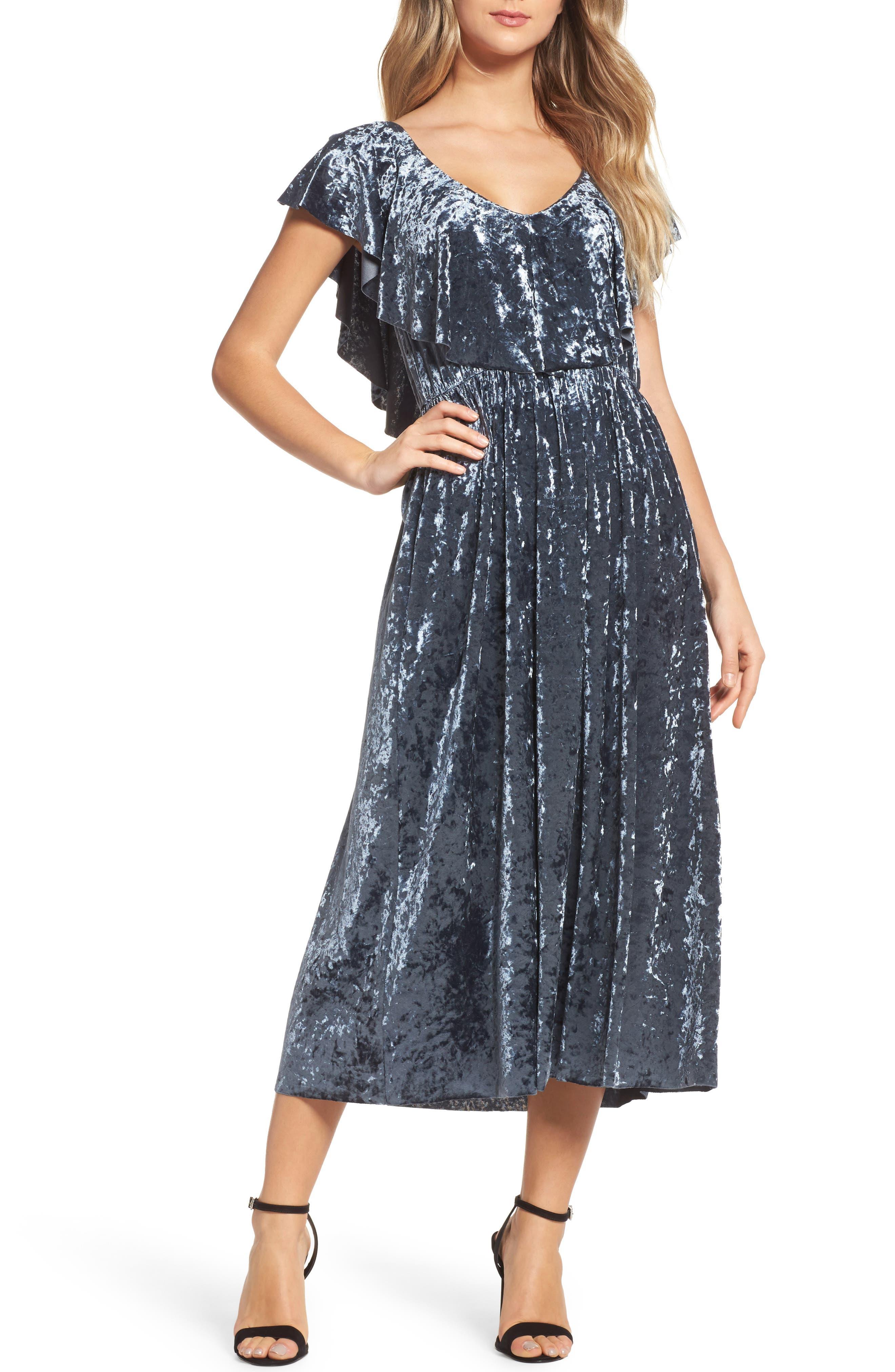 Crushed Velvet Midi Dress,                             Main thumbnail 1, color,                             405