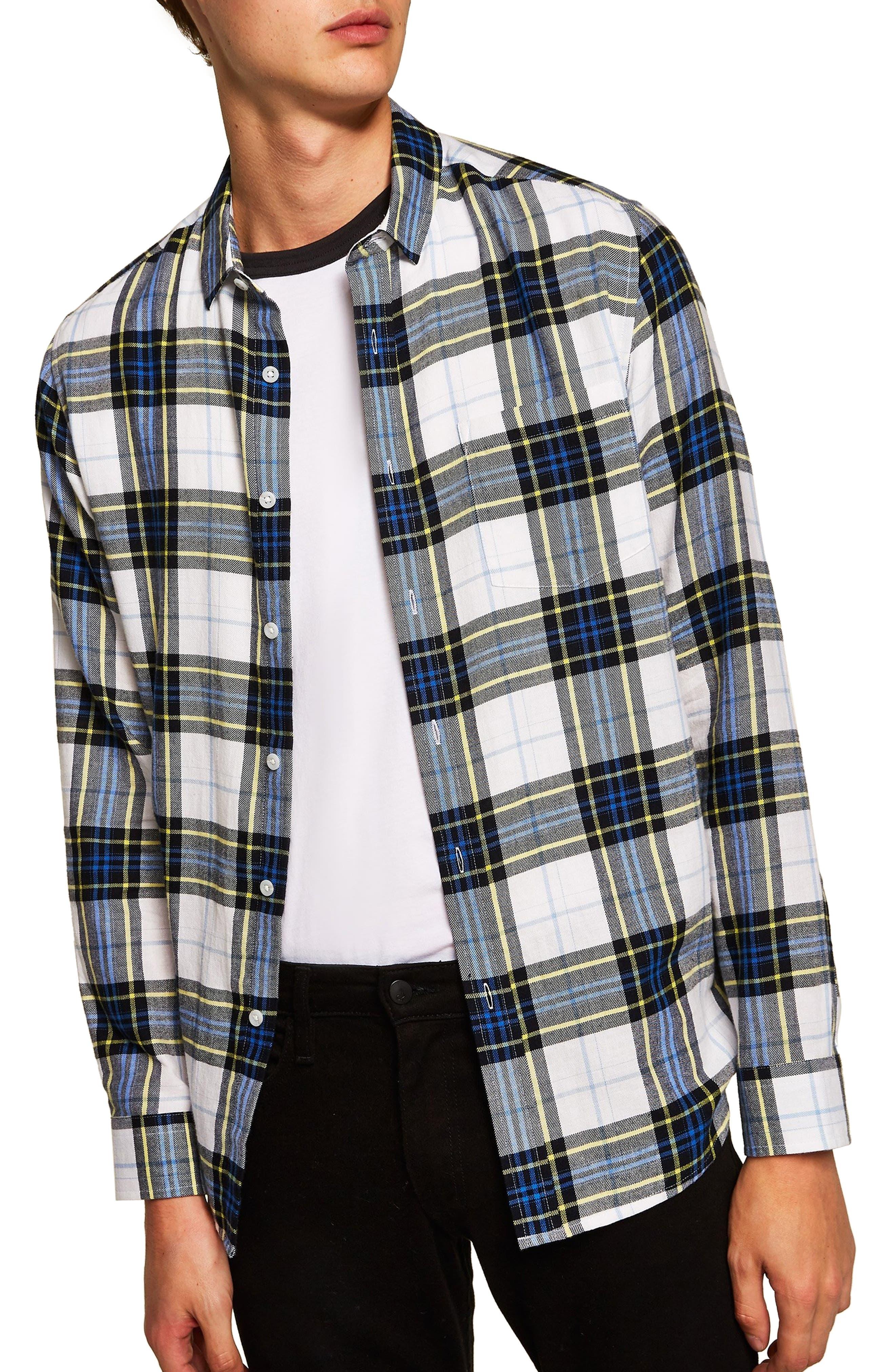 Classic Fit Check Print Woven Shirt,                             Main thumbnail 1, color,                             WHITE  MULTI