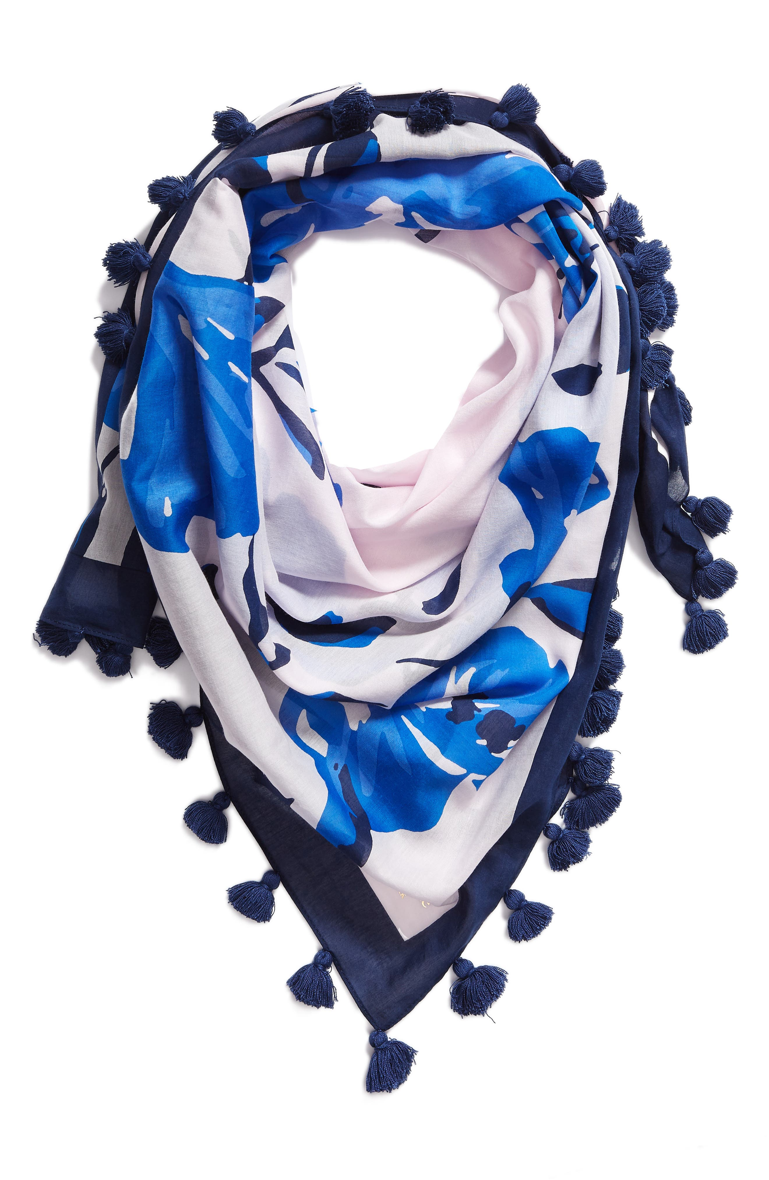 hibiscus square cotton & silk scarf,                             Alternate thumbnail 2, color,                             PINK LEMONADE
