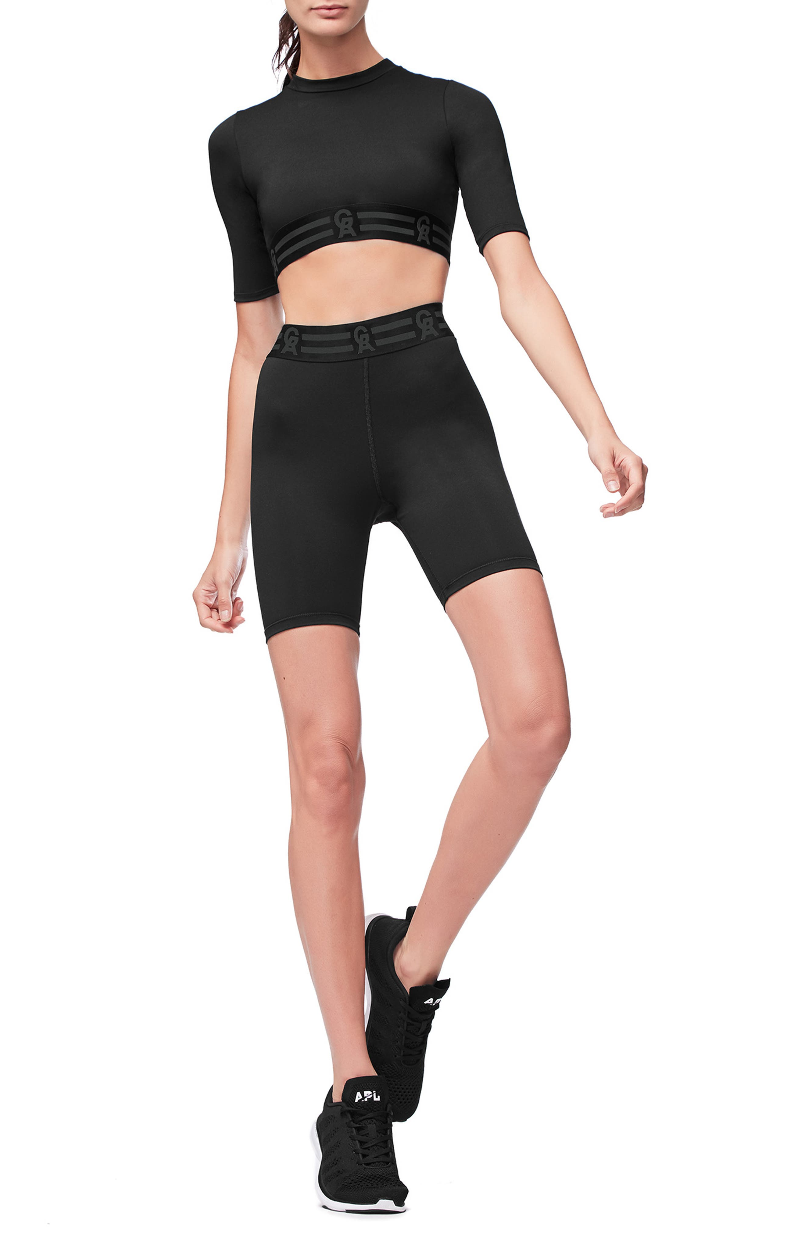 Icon High Waist Biker Shorts,                             Alternate thumbnail 7, color,                             BLACK001