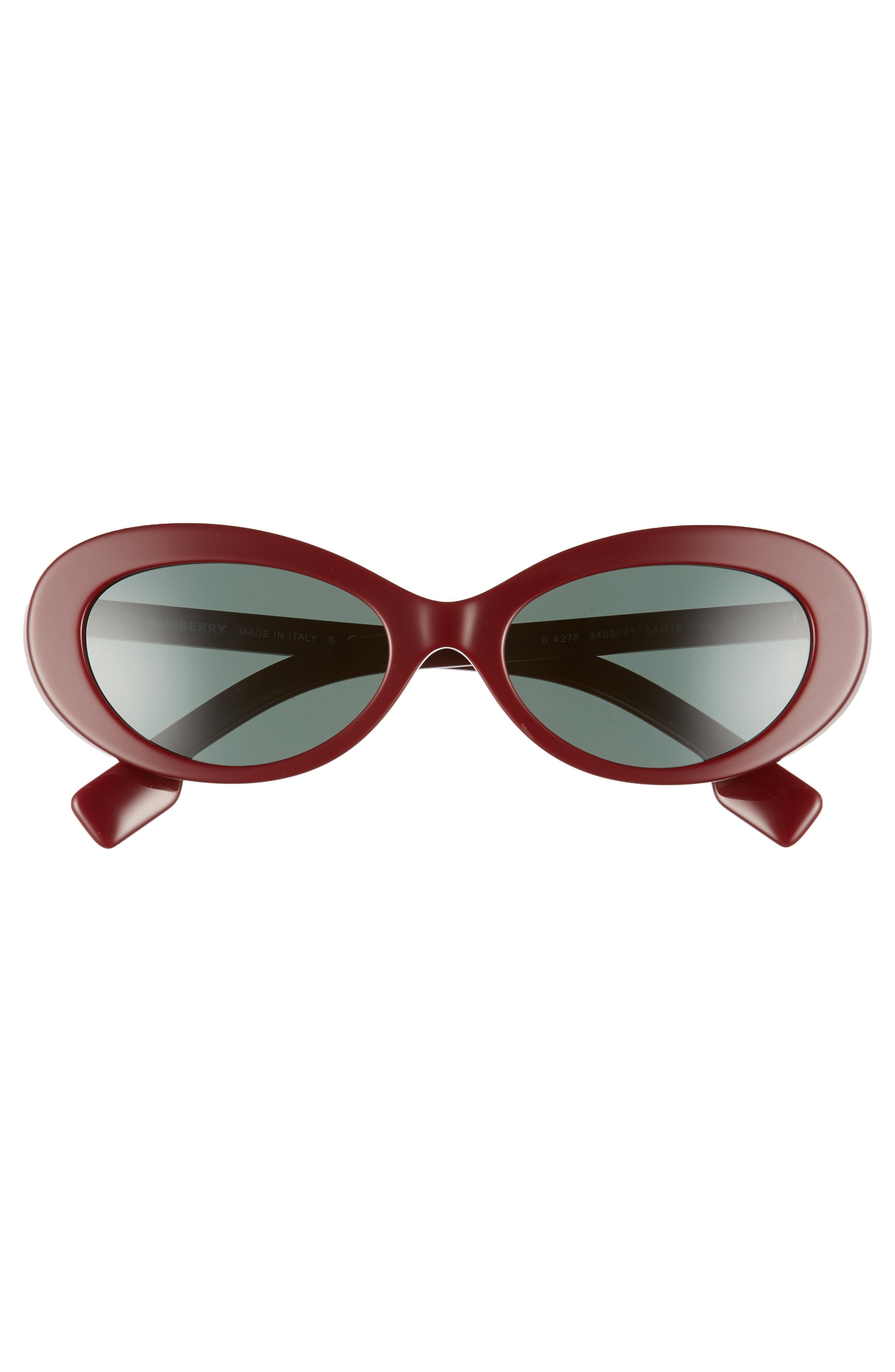 54mm Oval Sunglasses,                             Alternate thumbnail 3, color,                             BORDEAUX SOLID