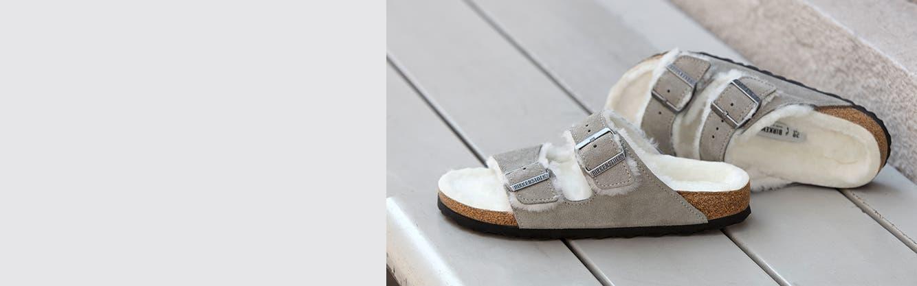 Shearling-lined Birkenstock sandals for women.