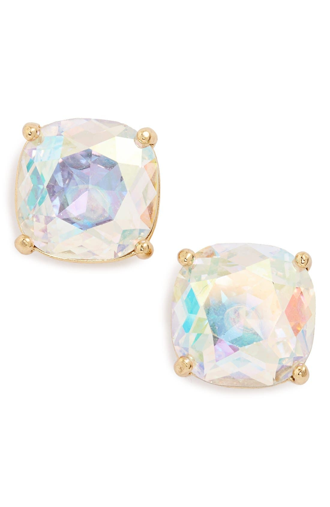 mini small square semiprecious stone stud earrings,                             Main thumbnail 1, color,                             CRYSTAL AB/ SILVER