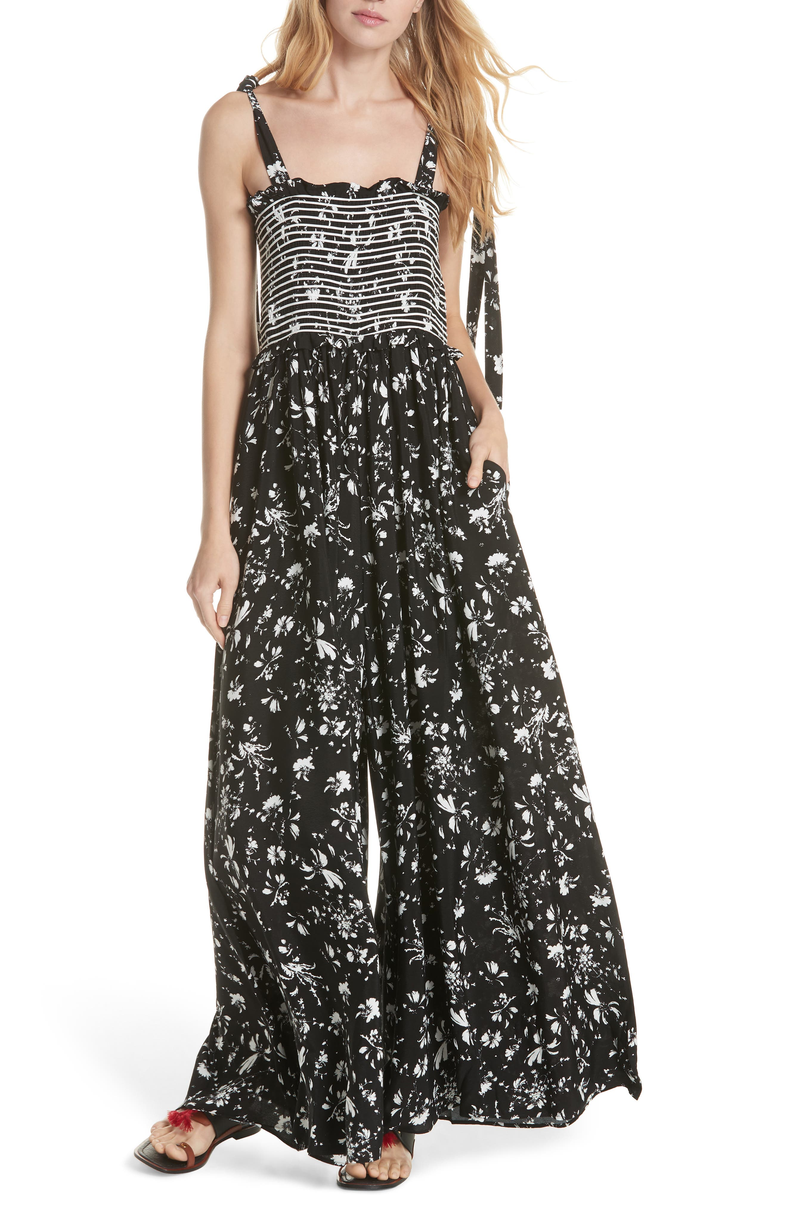 FREE PEOPLE,                             Color My World Floral Jumpsuit,                             Alternate thumbnail 6, color,                             001