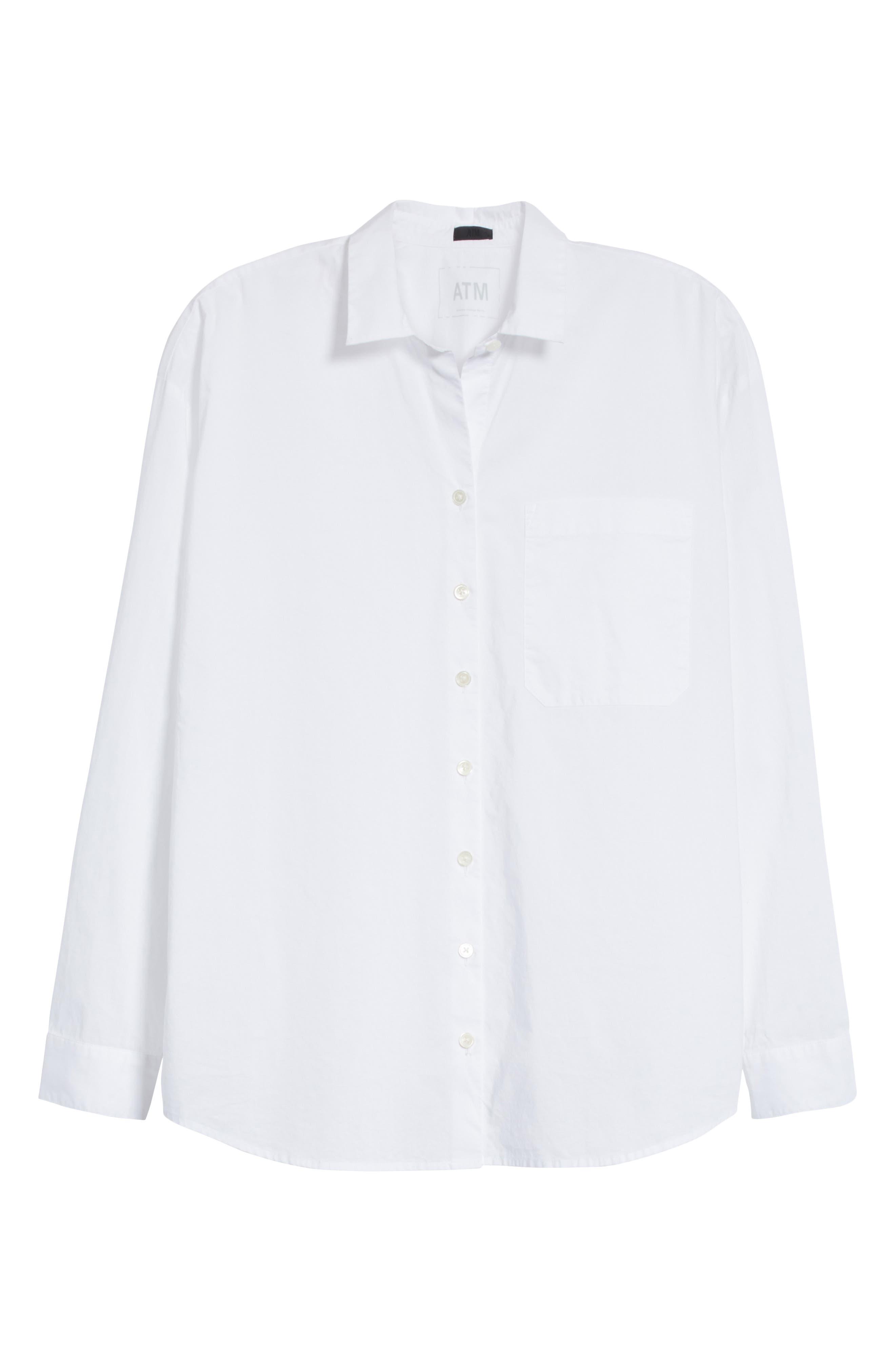 Cotton Poplin Boyfriend Shirt,                             Alternate thumbnail 6, color,                             100