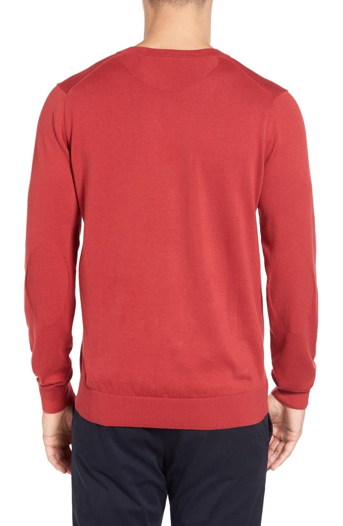 Cotton Jersey V-Neck Sweater,                             Alternate thumbnail 12, color,