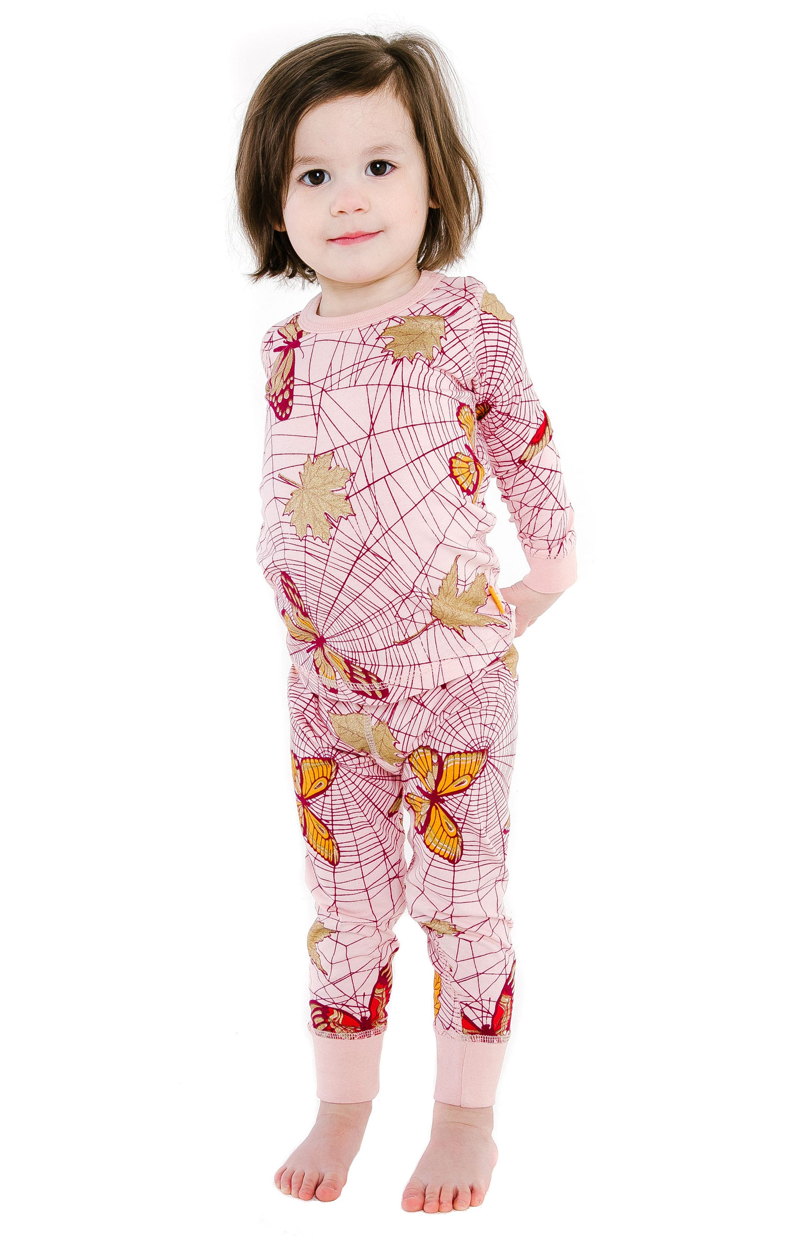 Spiderweb Organic Cotton Fitted Two-Piece Pajamas,                             Main thumbnail 1, color,                             PINK
