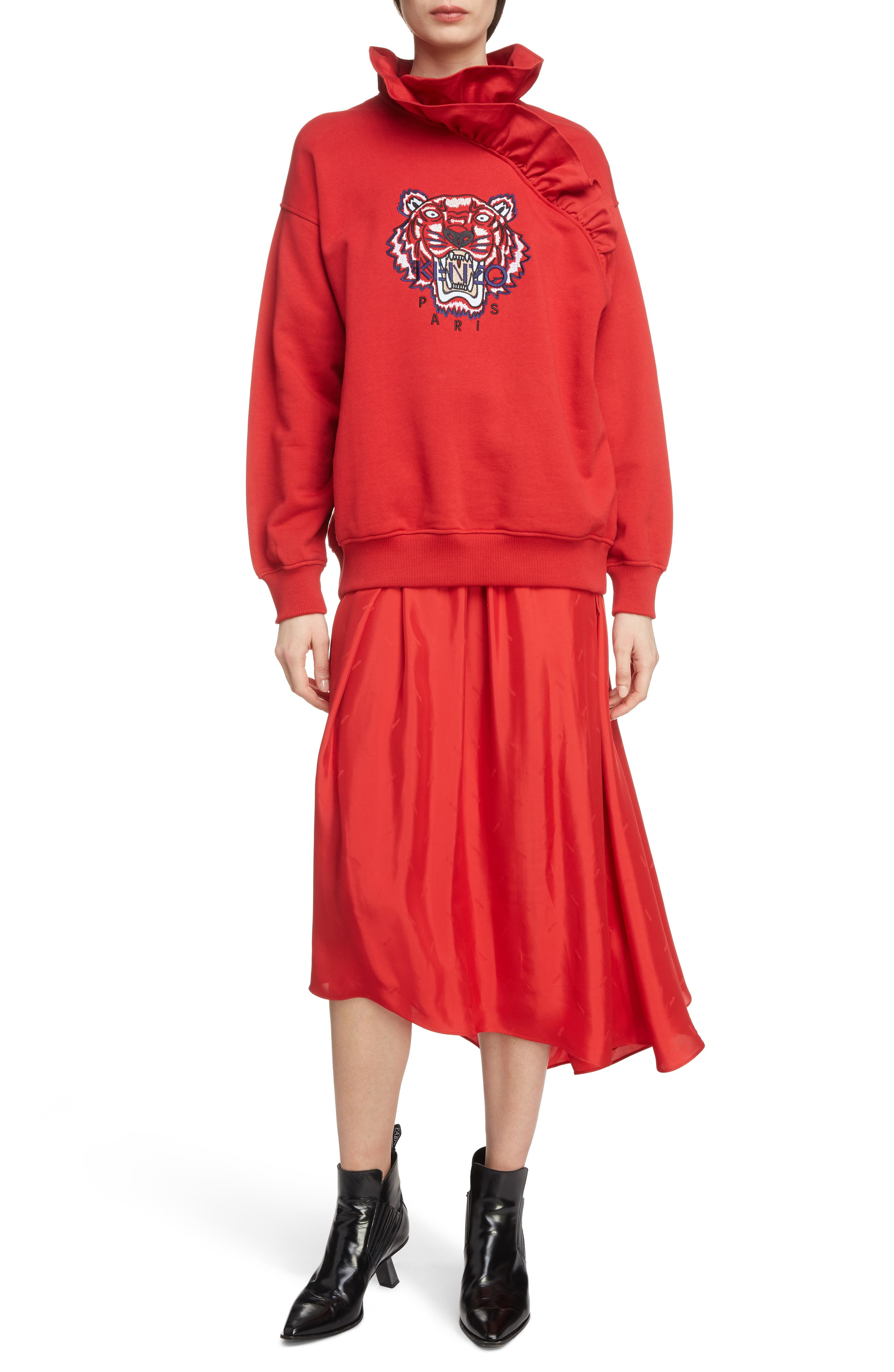 Long Belted Skirt,                             Alternate thumbnail 6, color,                             VISCOSE/ MEDIUM RED