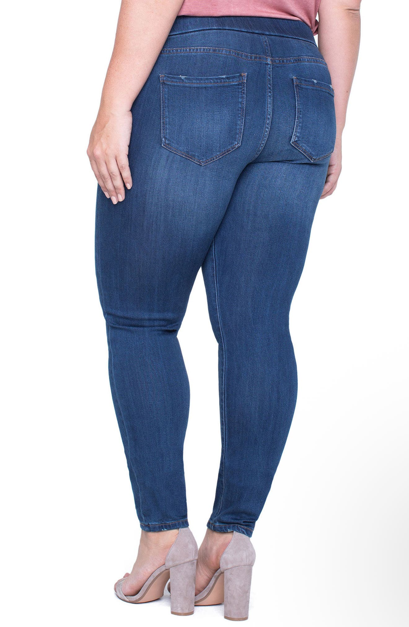 Sienna Knit Denim Leggings,                             Alternate thumbnail 4, color,