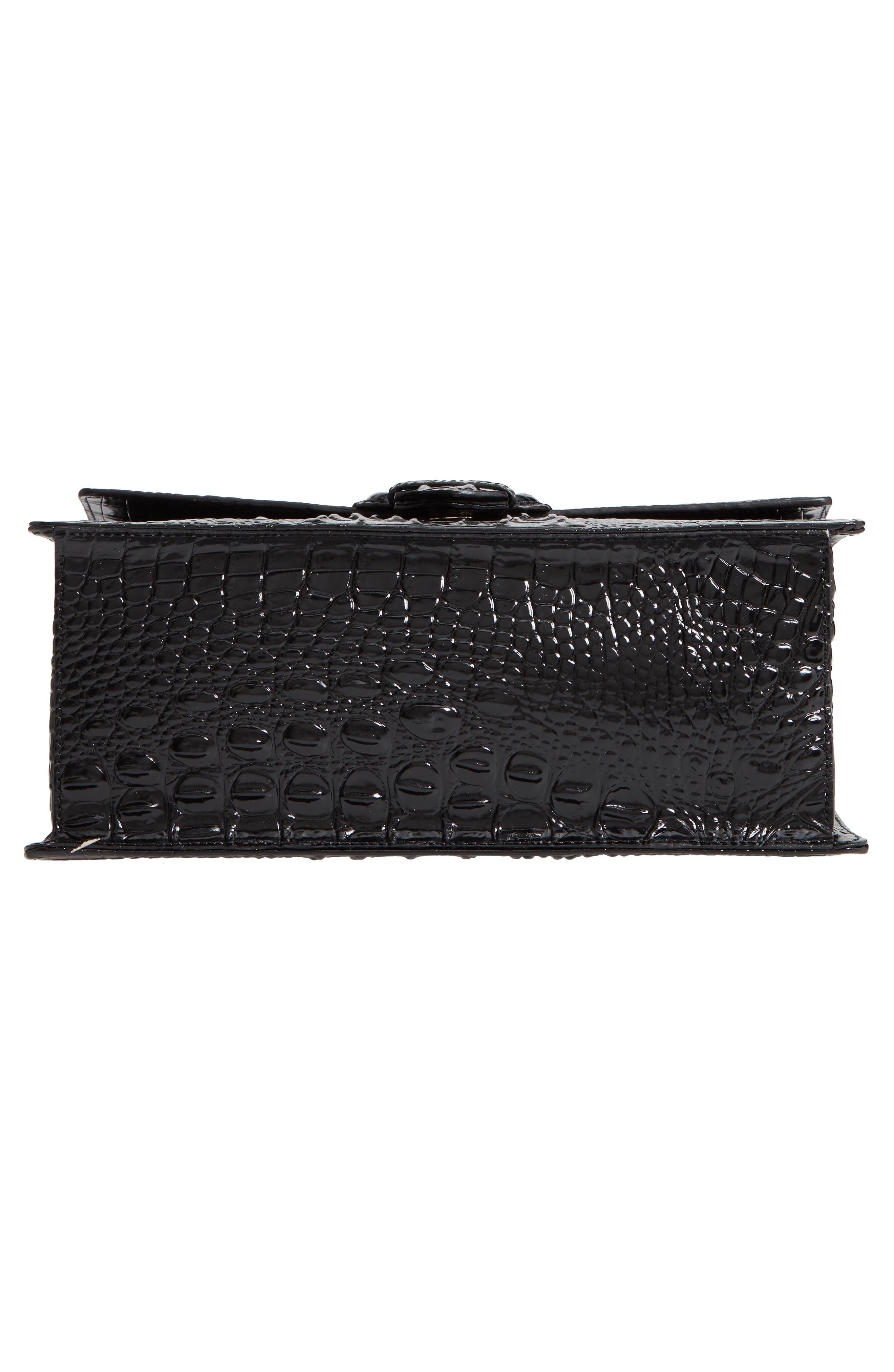 Medium Francine Croc Embossed Leather Satchel,                             Alternate thumbnail 6, color,                             BLACK
