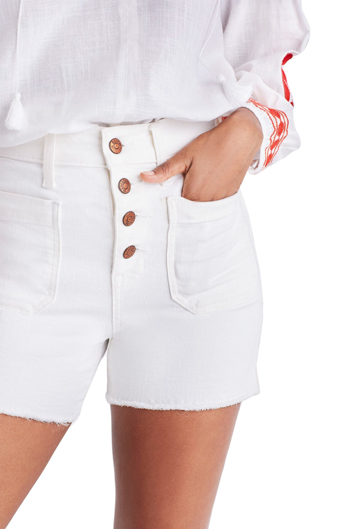 Denim Shorts,                             Alternate thumbnail 3, color,                             TILE WHITE