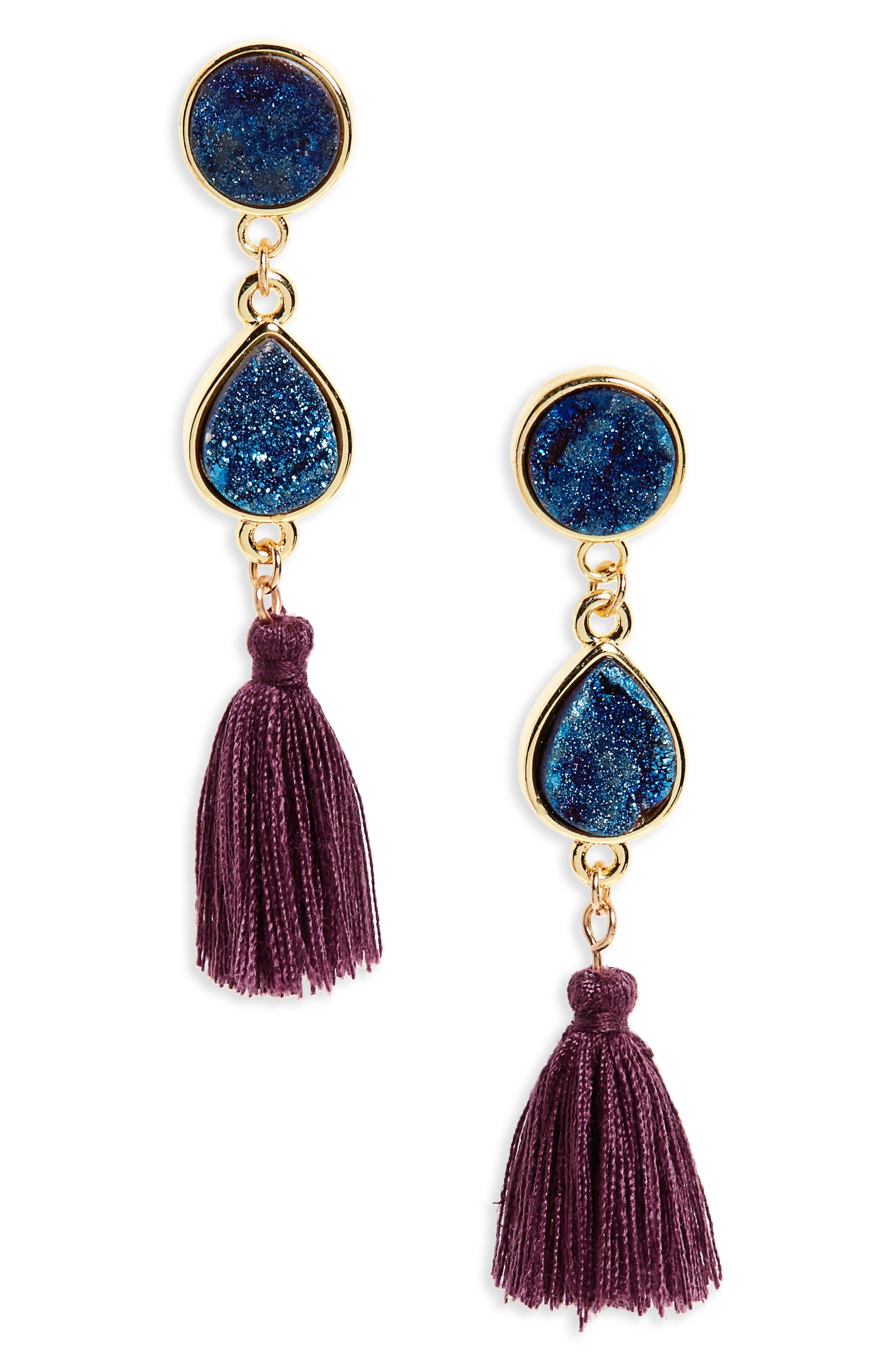 Drusy Quartz Tassel Earrings,                             Main thumbnail 1, color,                             410