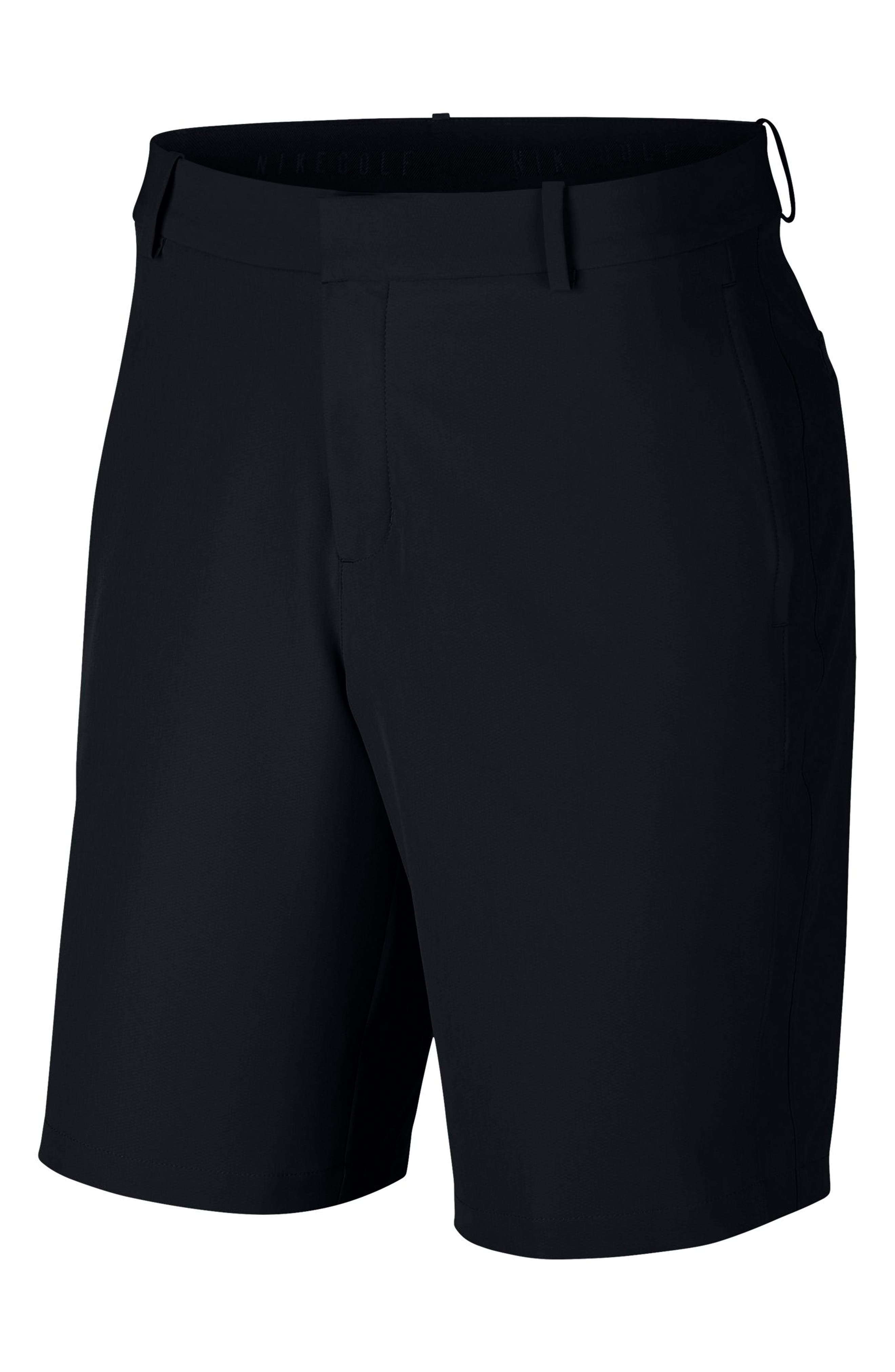 Flex Hybrid Standard Fit Golf Shorts,                             Alternate thumbnail 4, color,                             BLACK/ BLACK