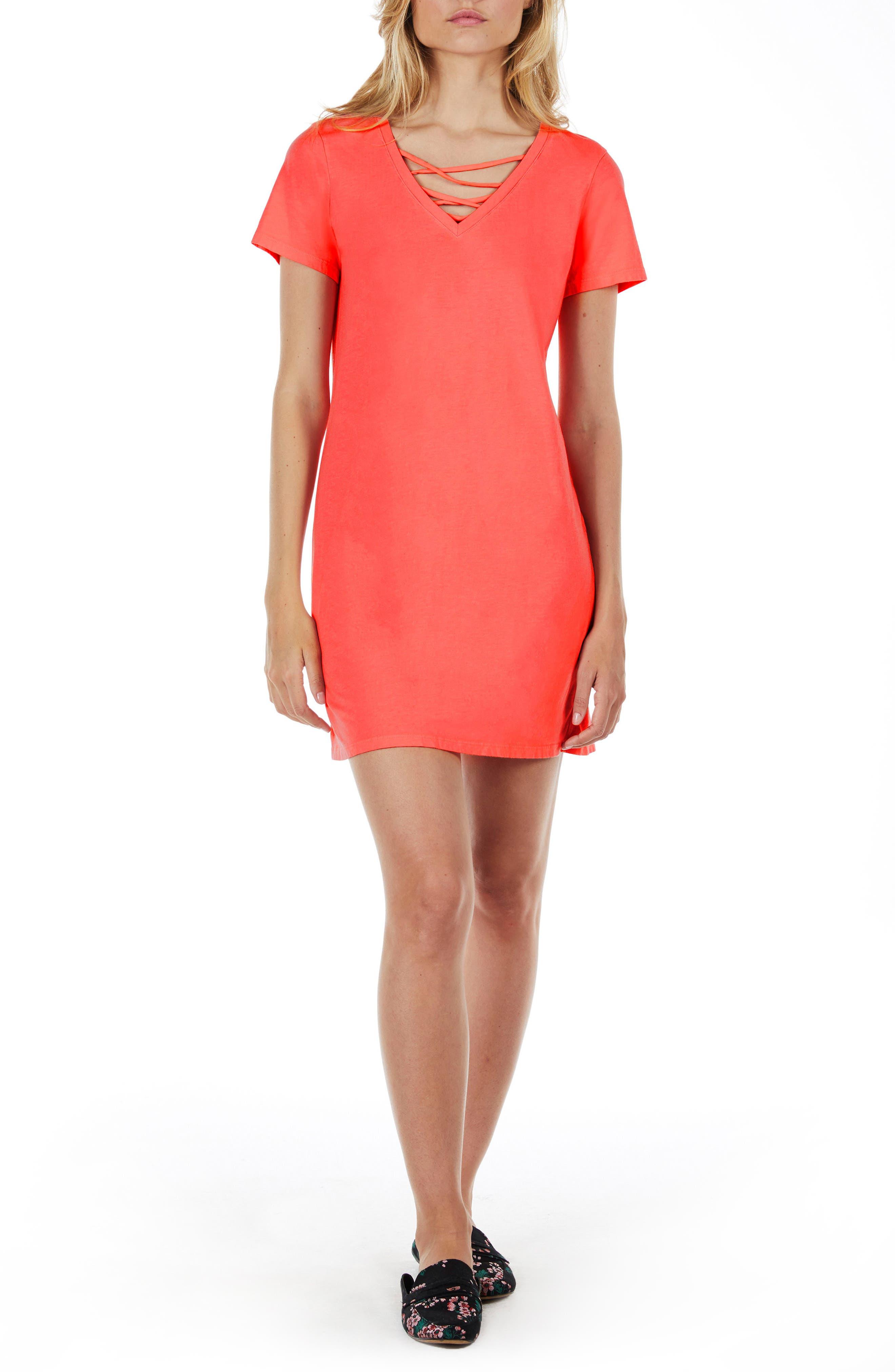 Strappy V-Neck Shift Dress,                             Main thumbnail 4, color,