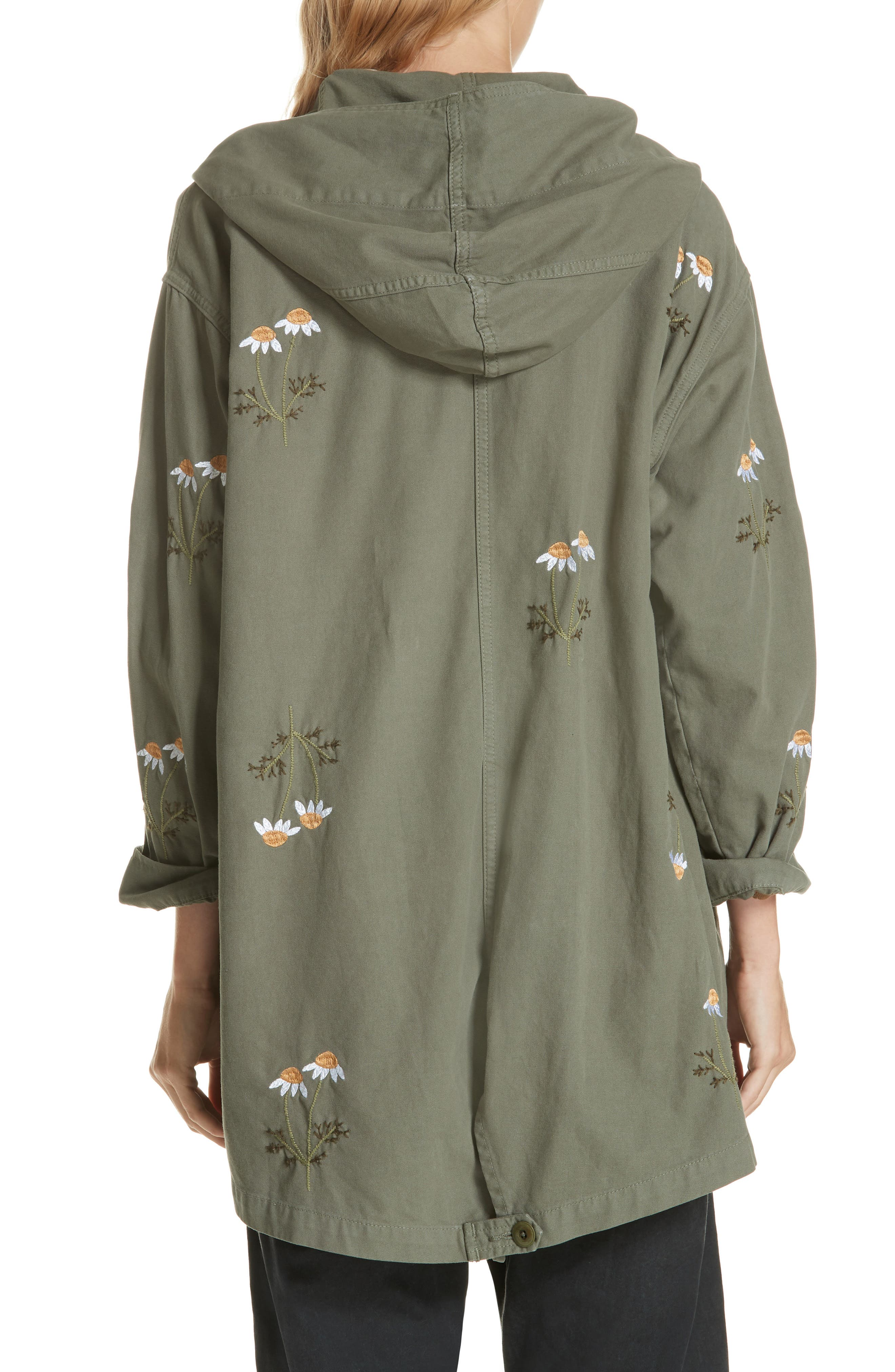 Embroidered Military Parka,                             Alternate thumbnail 2, color,                             ARMY GREEN W/ DAISY