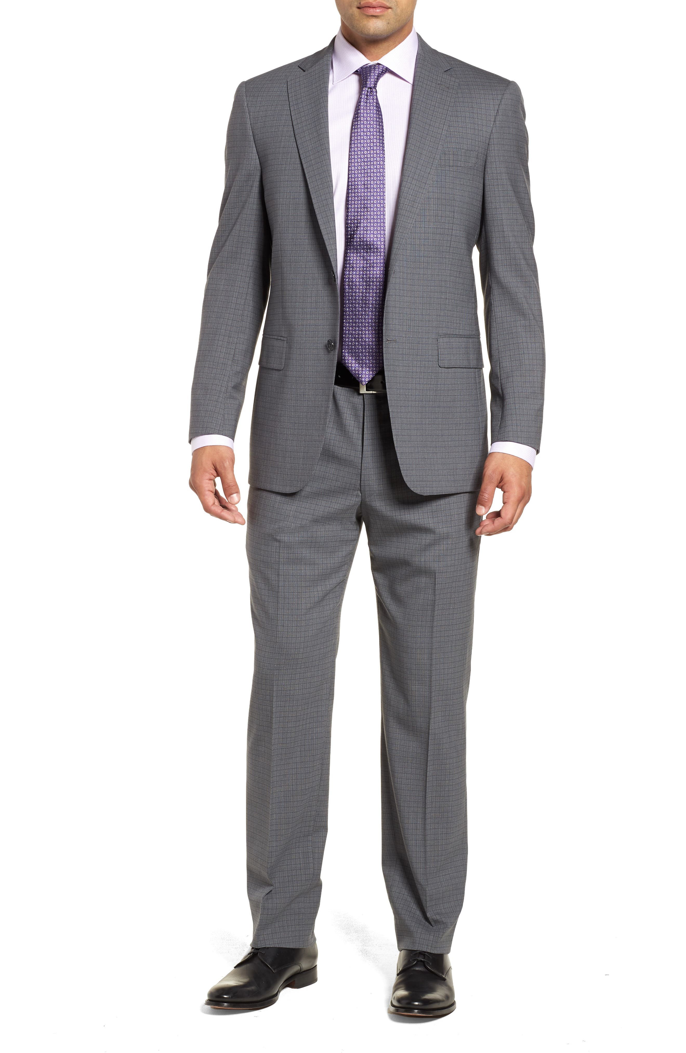 Classic Fit Stretch Plaid Wool Suit,                         Main,                         color, 030