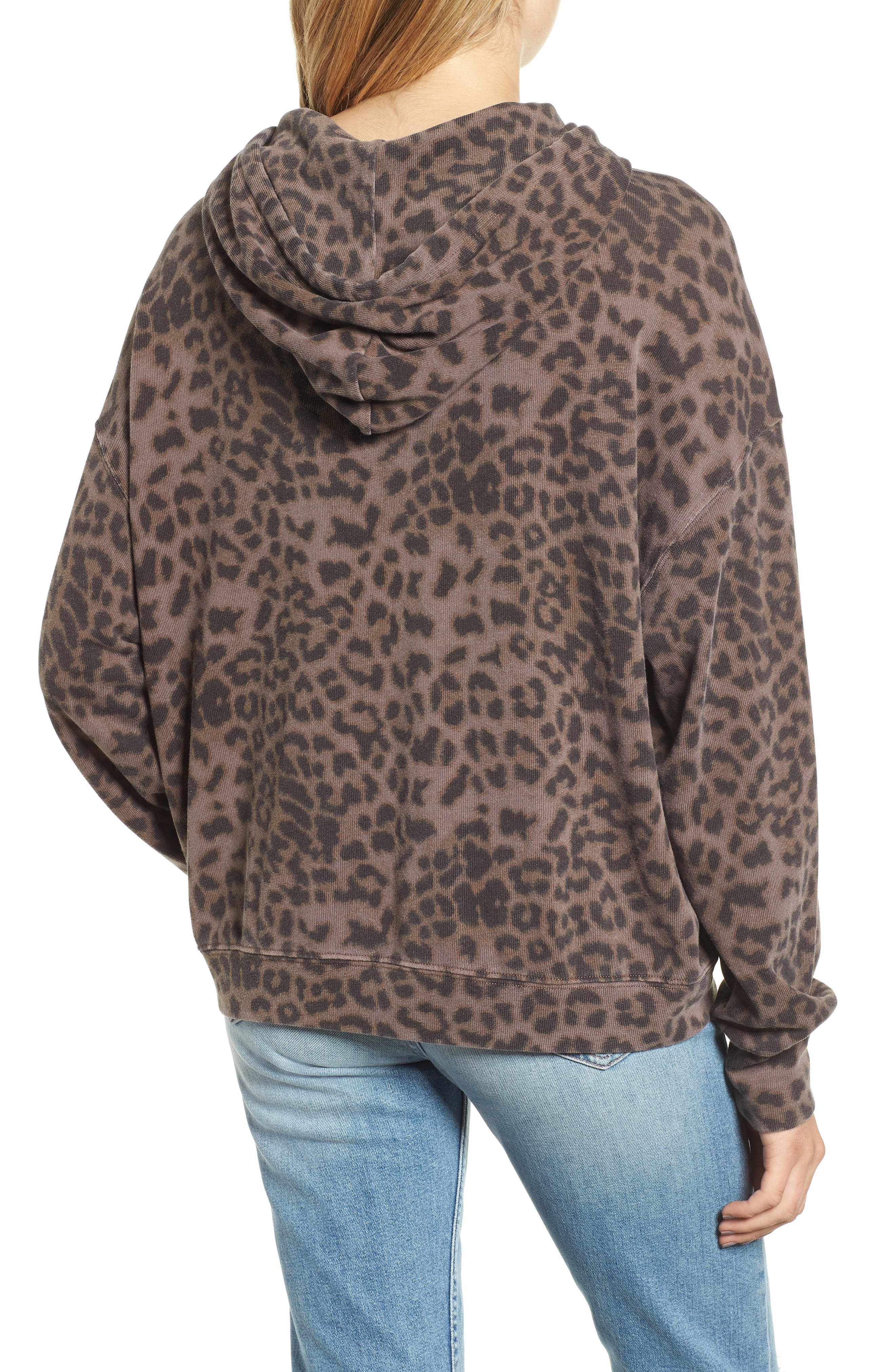 Leopard Spot Crop Hoodie,                             Alternate thumbnail 2, color,                             200